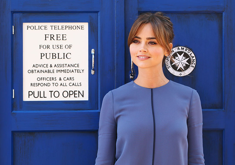 Jenna Coleman poses on a world tour to promote the new series of Doctor Who at Dendy Opera Quays on August 12, 2014 in Sydney, Australia.