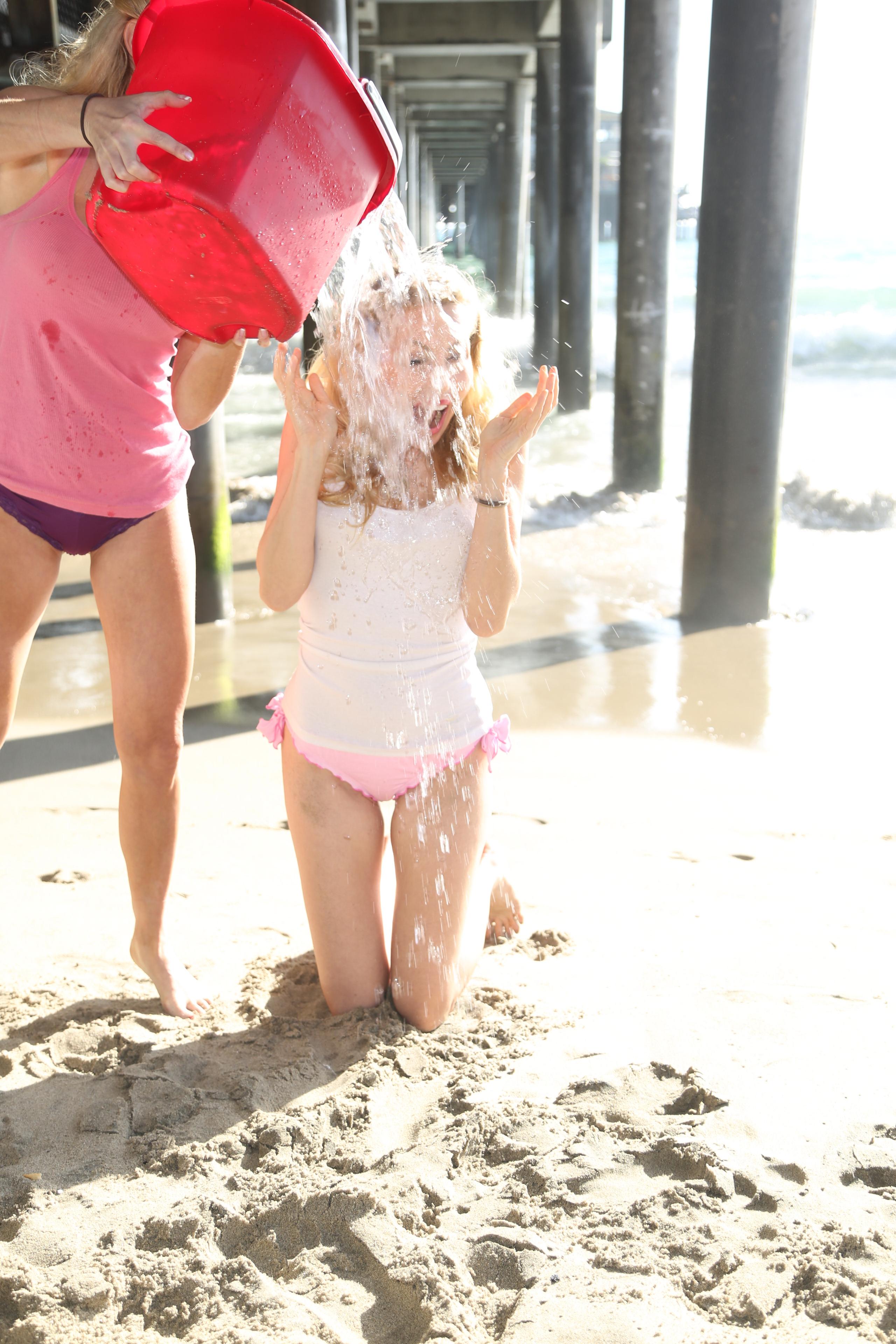 Madeline Wade is seen on September 1, 2014 doing the ALS Ice Bucket Challenge