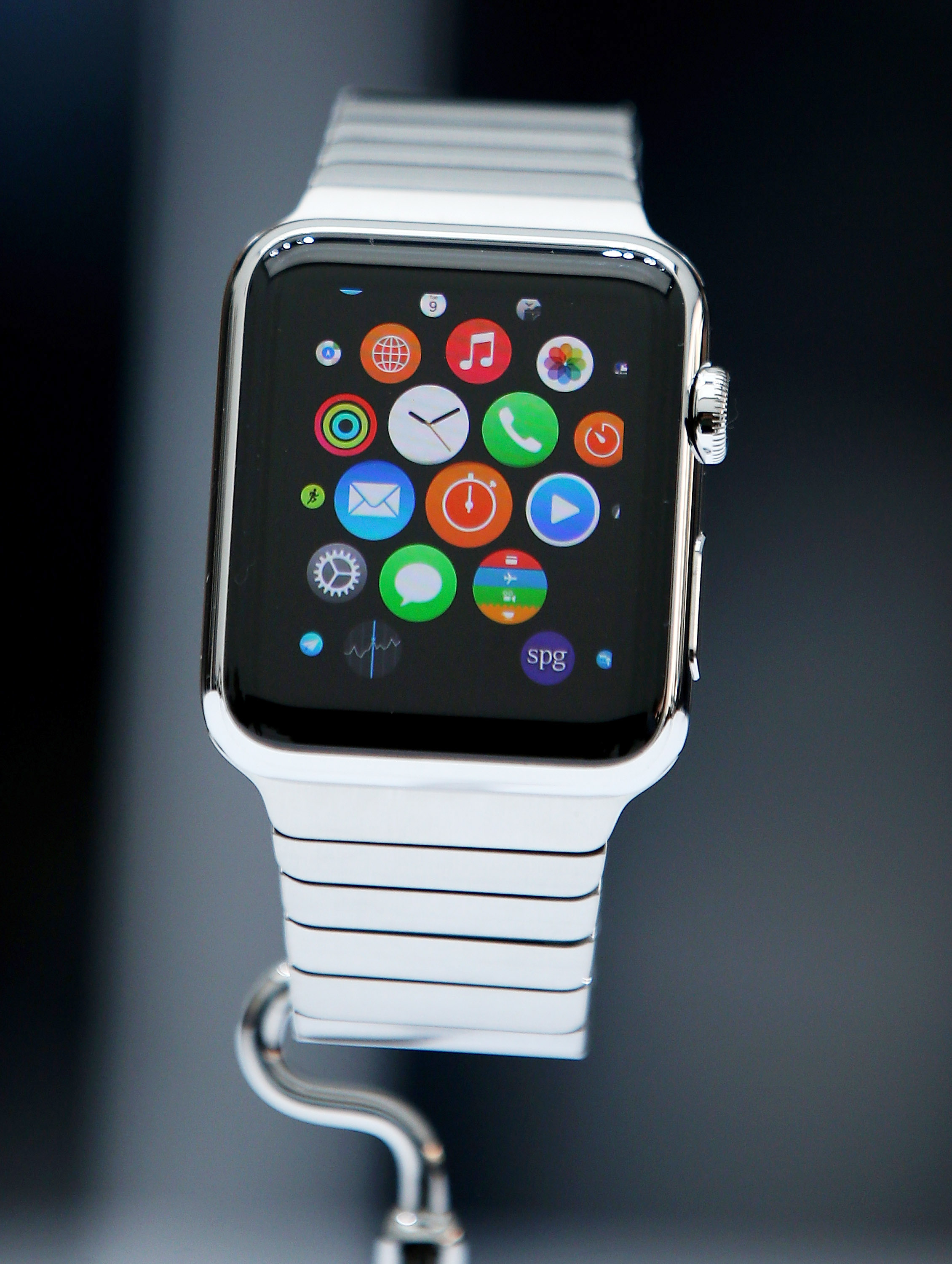 The new Apple Watch is displayed during an Apple special event at the Flint Center for the Performing Arts on September 9, 2014 in Cupertino, California.