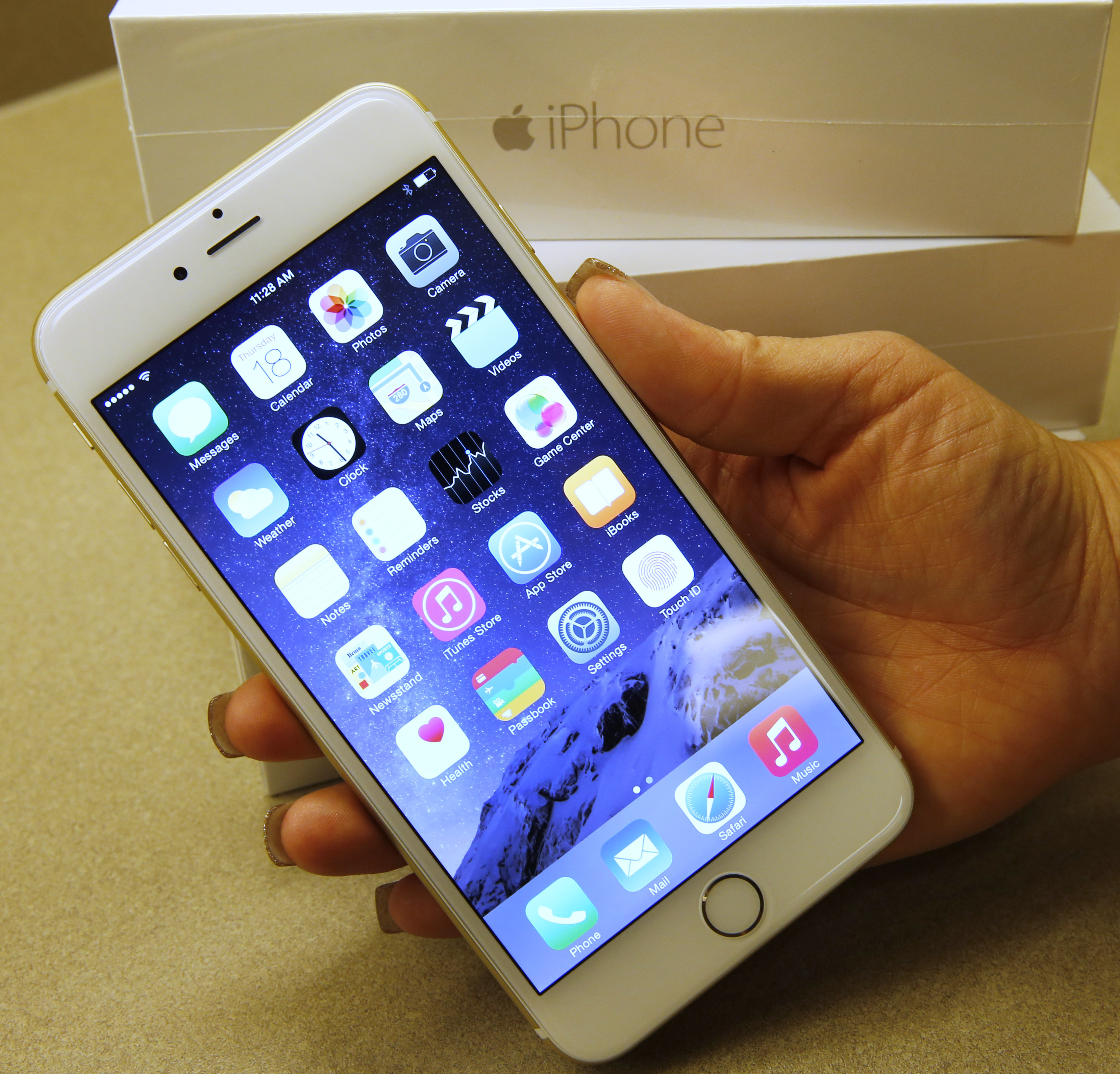 An Apple iPhone 6 Plus gold, is shown here at a Verizon store on September 18, 2014 in Orem, Utah.