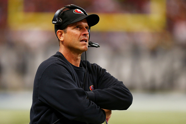 Head coach Jim Harbaugh of the San Francisco 49ers reacts in a game at Edward Jones Dome in St. Louis on Oct. 13, 2014