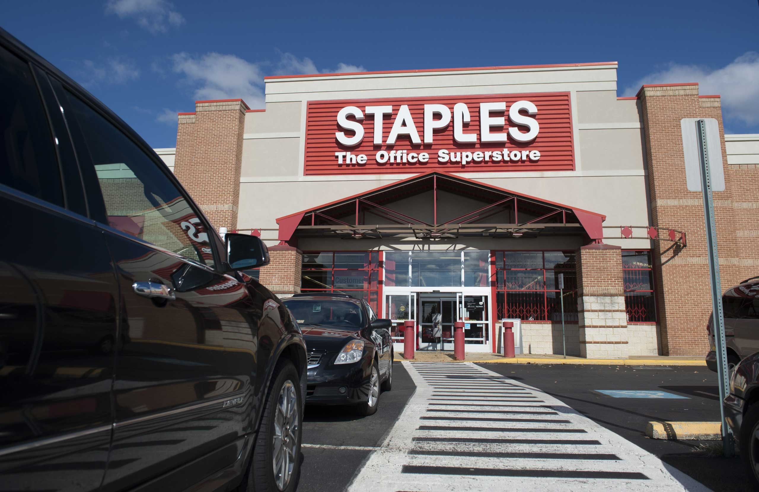 A Staples office supply store is seen in Springfield, Virginia, Oct. 23, 2014.