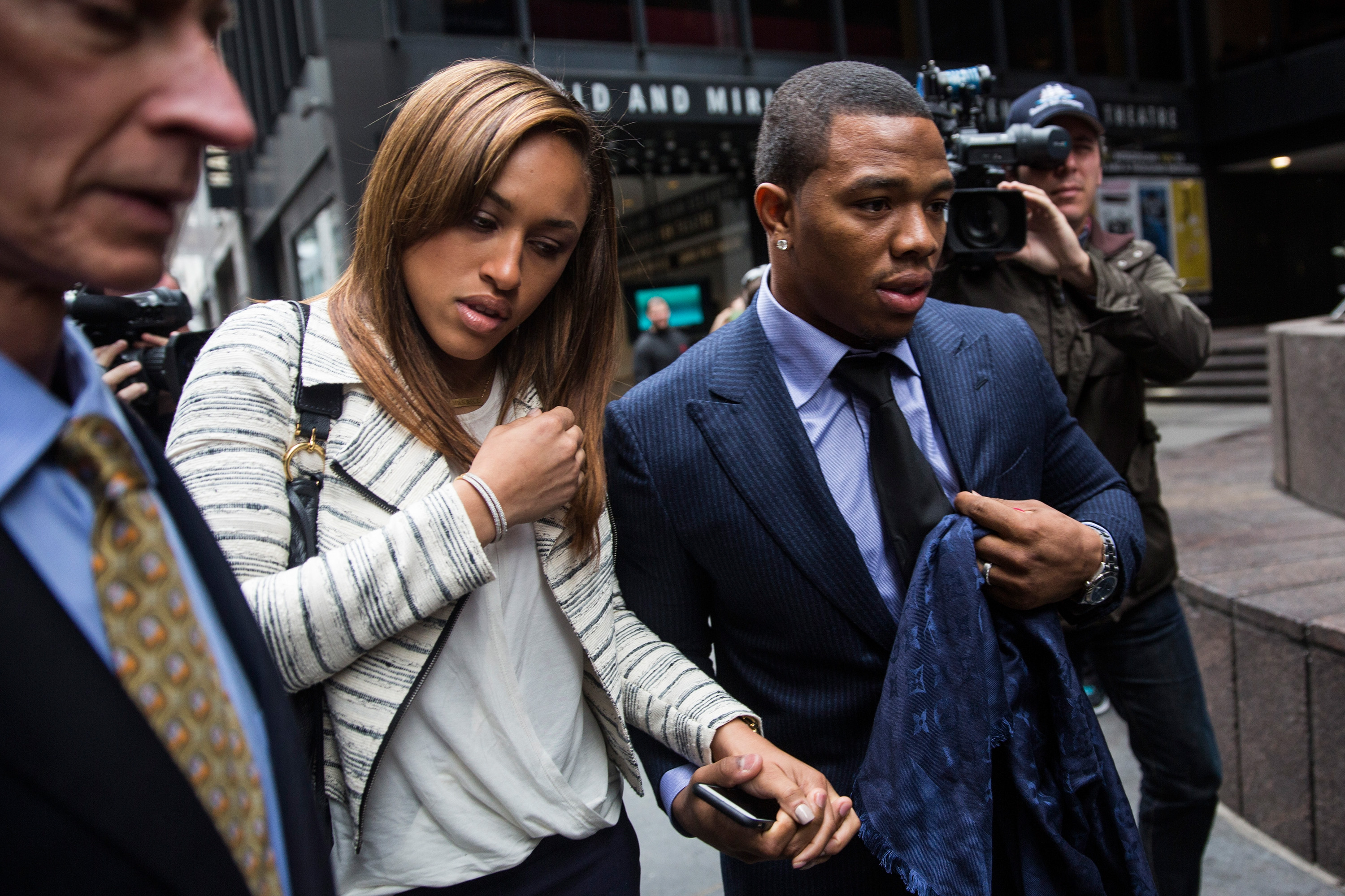 Ray Rice, right, and his wife Janay Palmer arrive for a hearing on Nov. 5, 2014 in New York.