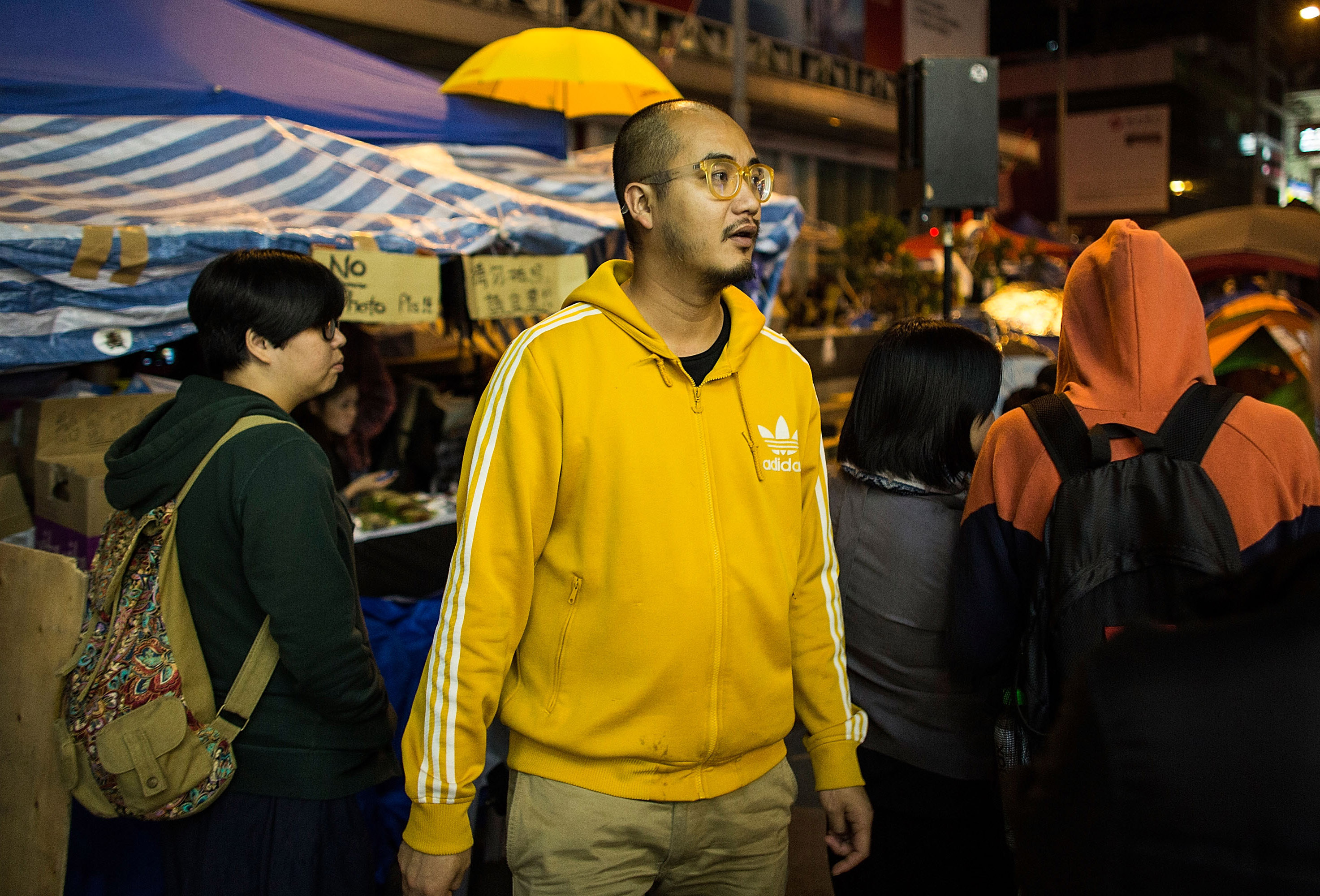 Activist Wong Yeung-tat attends a protest at the Occupy Mongkok Occupy site on Nov. 21, 2014, in Hong Kong. He was arrested on Dec. 11 on multiple charges of unlawful assembly