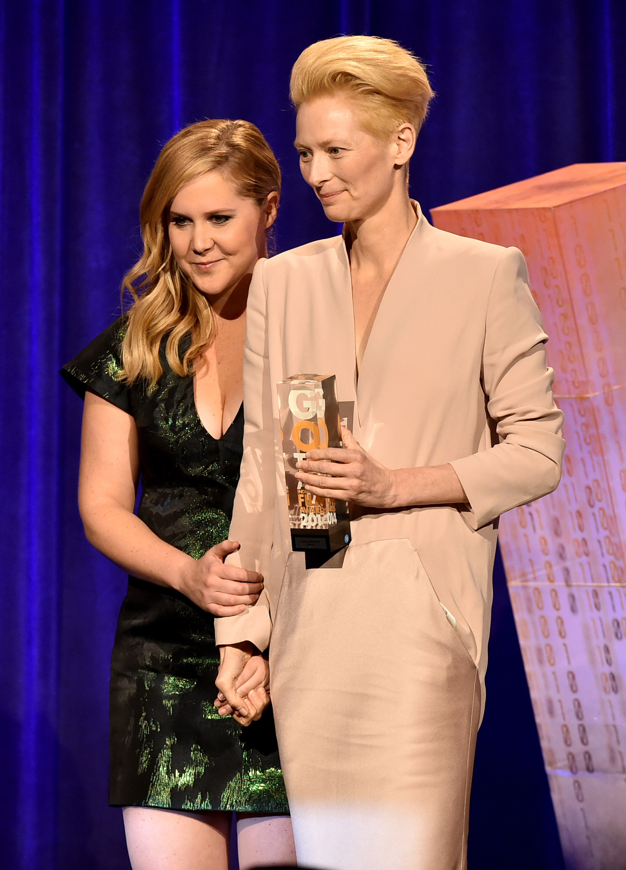 Amy Schumer and Tilda Swinton attend IFP's 24th Gotham Independent Film Awards at Cipriani, Wall Street on December 1, 2014 in New York City.