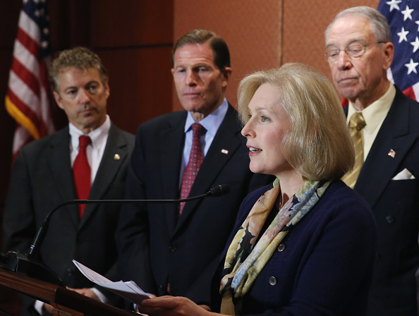 U.S. Sen. Kirsten Gillibrand (D-NY) (2nd R) speaks during a news conference on changing the military justice system, as U.S. Sen. Rand Paul (R-KY) (L), U.S. Sen. Richard Blumenthal (D-CT) (2ndL) and U.S. Sen. Chuck Grassley (R-IA) (R) listen December 2, 2014 in Washington, DC.