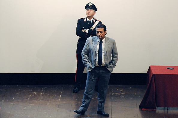 Captain of Costa Concordia Francesco Schettino stands during the hearing in the court for his trial, where he gave evidence for the first time, on December 3, 2014 in Grosseto, Italy.