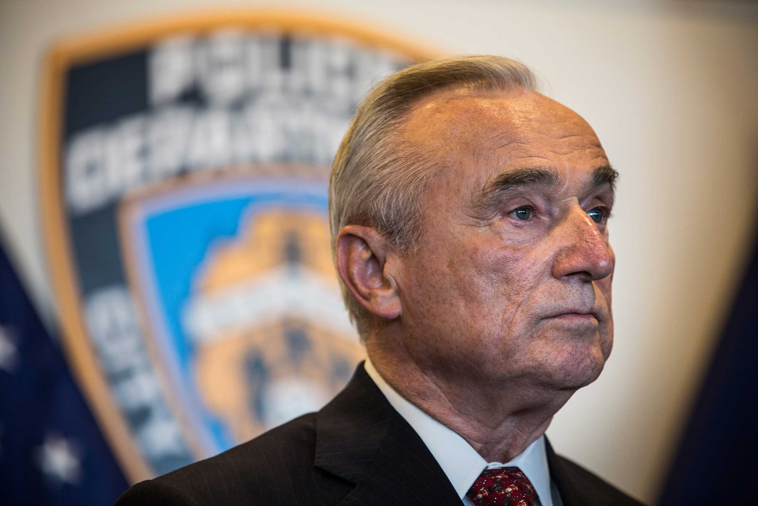 New York Police Department (NYPD) Commissioner Bill Bratton attends a press conference on Dec. 4, 2014 in the College Point neighborhood of the Queens borough of in New York.