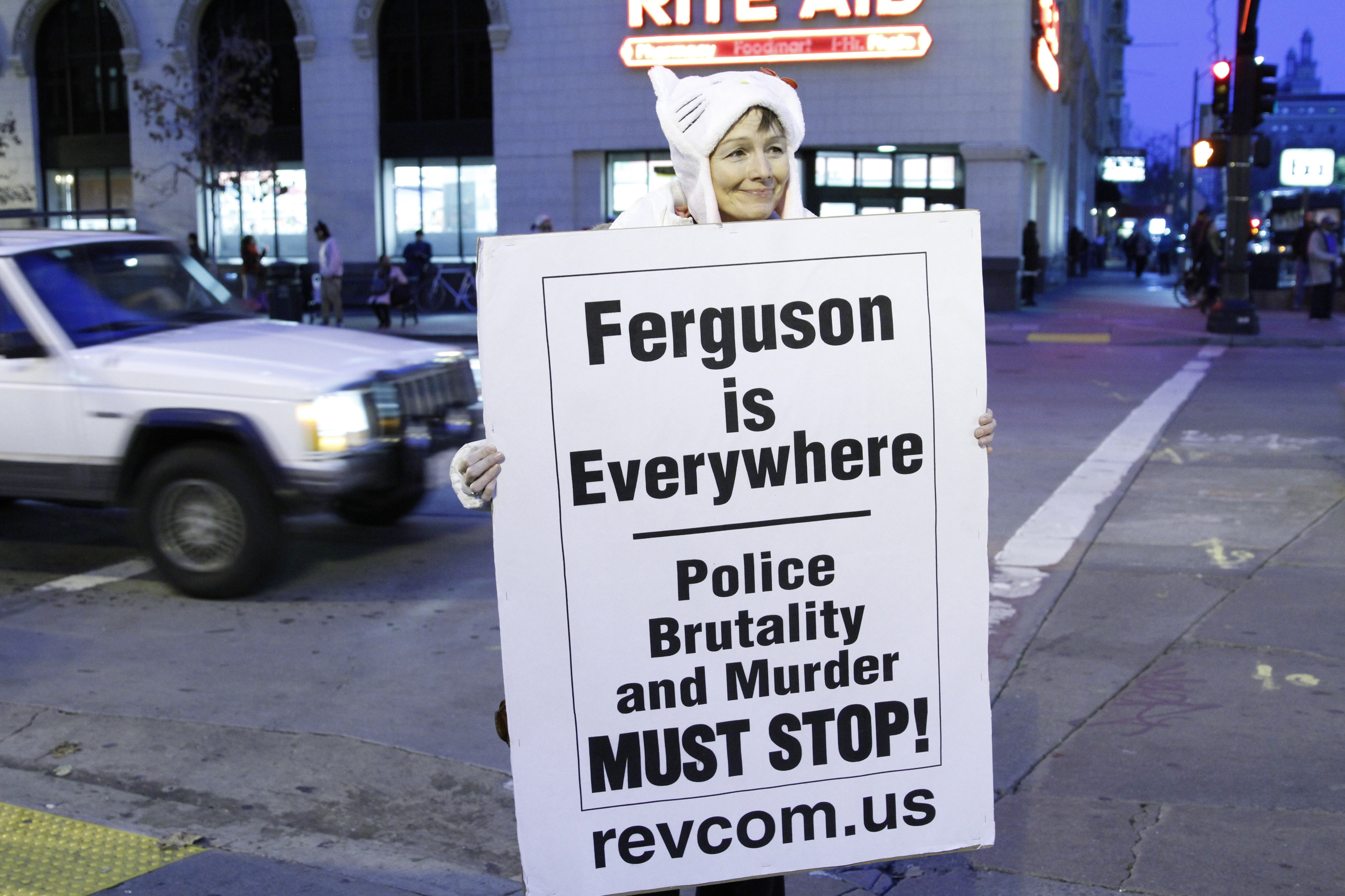 Protestors gather to protest after two grand juries decided not to indict the police officers involved in the deaths of Michael Brown in Ferguson, MO. and Eric Garner in New York, NY, on December 04, 2014 in Oakland, CA.