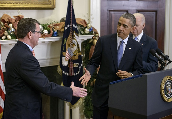 President Obama congratulates Ashton Carter after announcing his intention to nominate him to be the next defense secretary Friday.