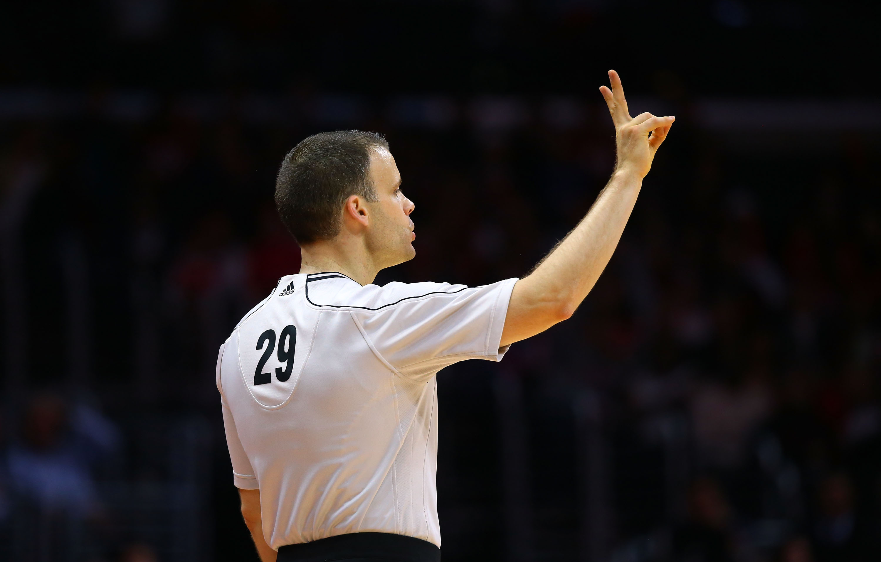 NBA referee Mark Lindsay #29 officiates the NBA game between the Los Angeles Clippers and the Phoenix Suns at Staples Center on Dec. 8, 2014 in Los Angeles.