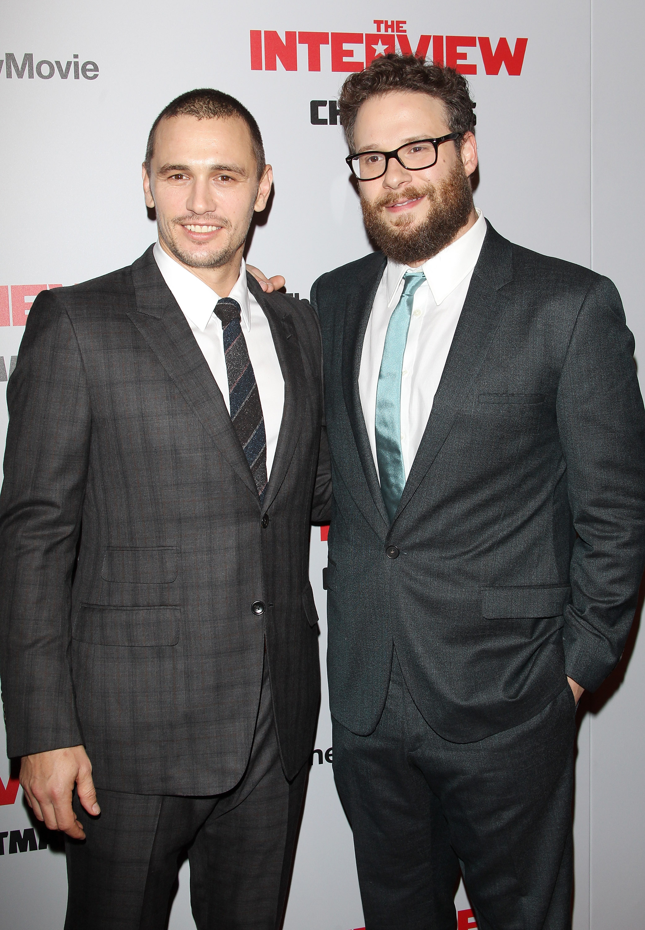 James Franco and Seth Rogen at the Los Angeles premiere of  The Interview  on December 11, 2014.