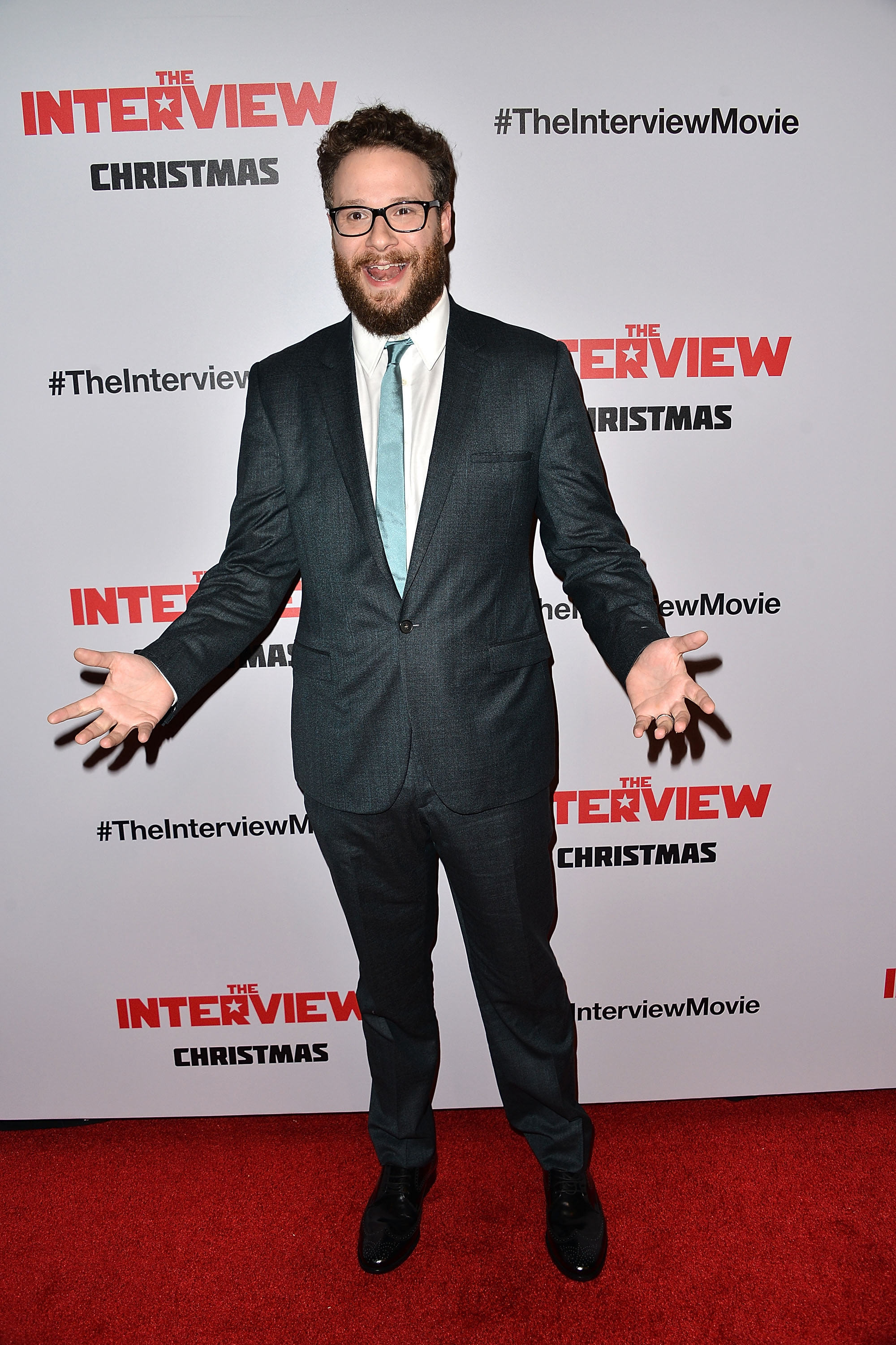 Seth Rogen arrives at the Los Angeles premiere of 'The Interview' held at The Theatre at Ace Hotel Downtown LA on December 11, 2014 in Los Angeles, California.