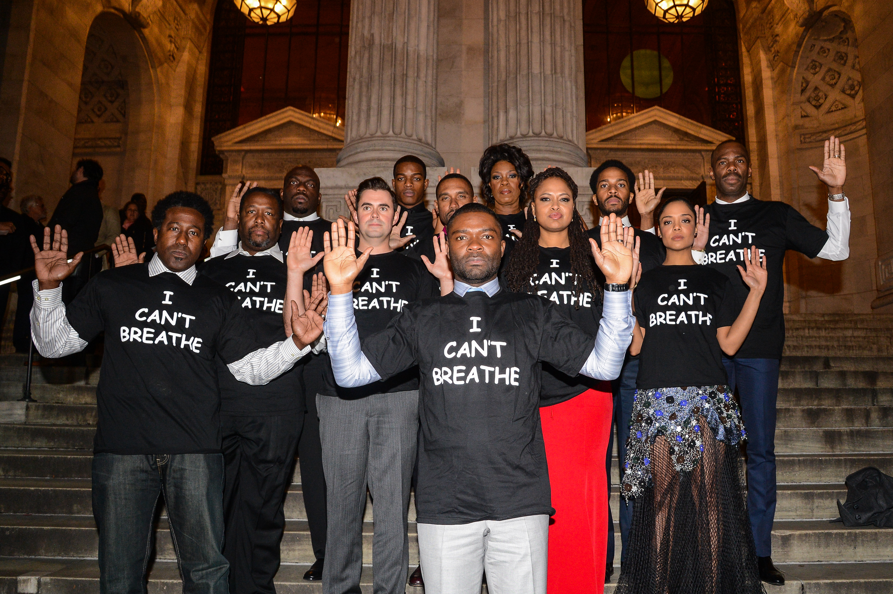(L to R)  Selma  actors E. Roger Mitchell, Wendell Pierce, Omar Dorsey, John Lavelle, Stephan James, Kent Faulcon, David Oyelowo, Lorraine Toussaint, director Ava DuVernay, Tessa Thompson, Andre Holland, and Colman Domingo wear  I Can't Breathe  t-shirts to protest the death of Eric Garner at the New York Public Library on December 14, 2014 in New York City