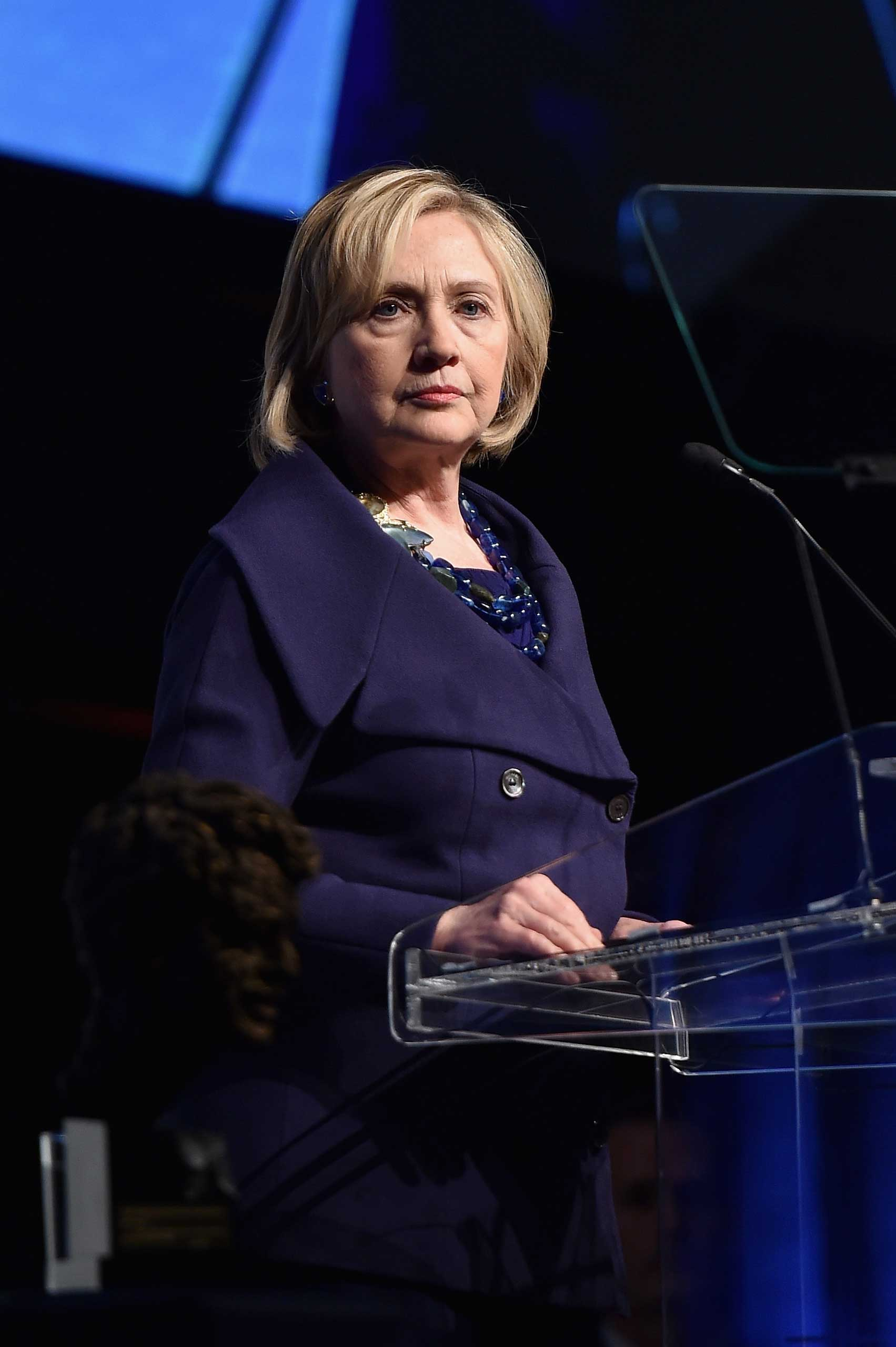 Hillary Rodham Clinton speaks onstage at the RFK Ripple Of Hope Gala on Dec. 16, 2014 in New York.