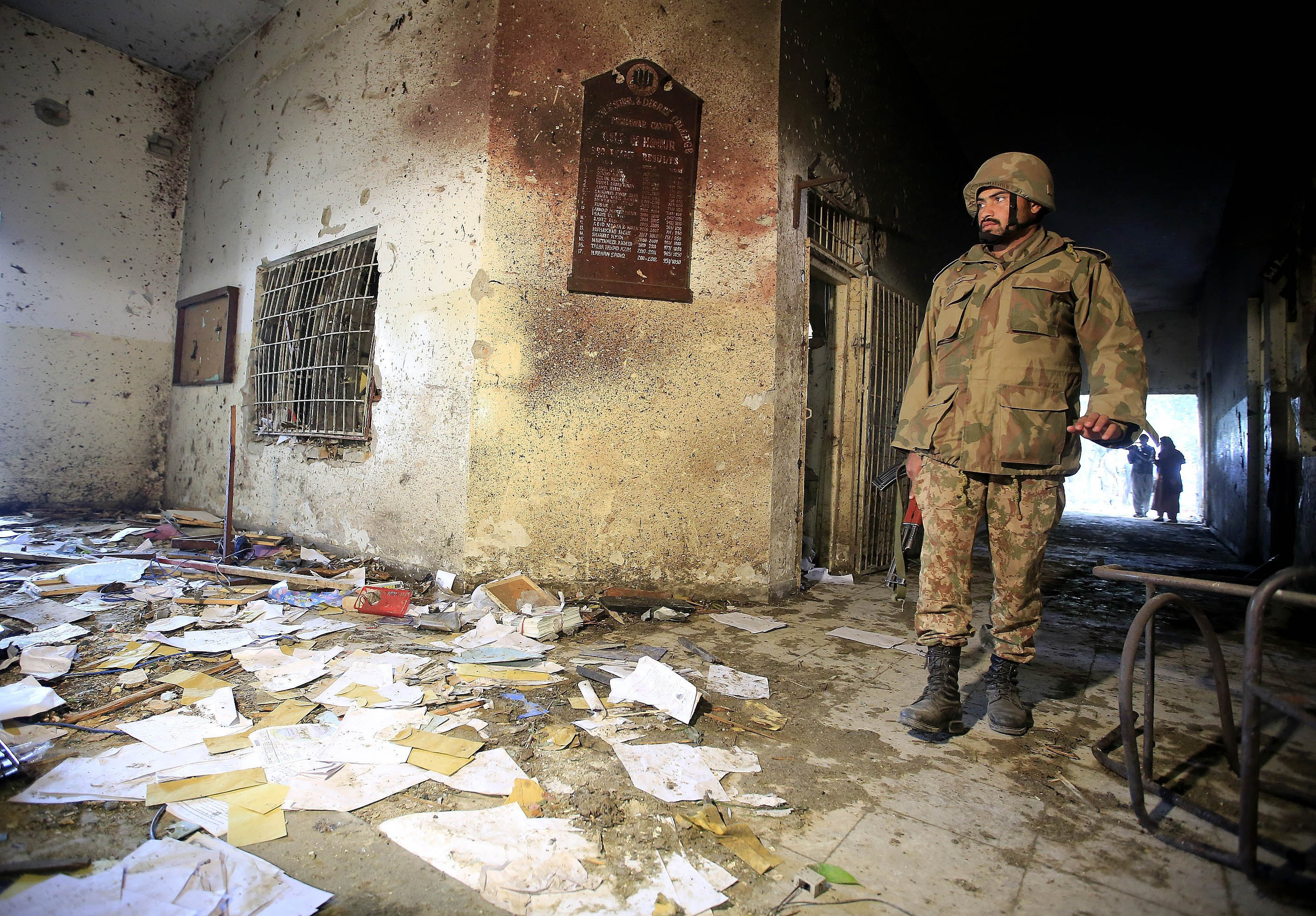 A view of the debris of the army-run school that was attacked by Taliban on Tuesday, in northwestern city of Peshawar, Pakistan, on December 17, 2014.