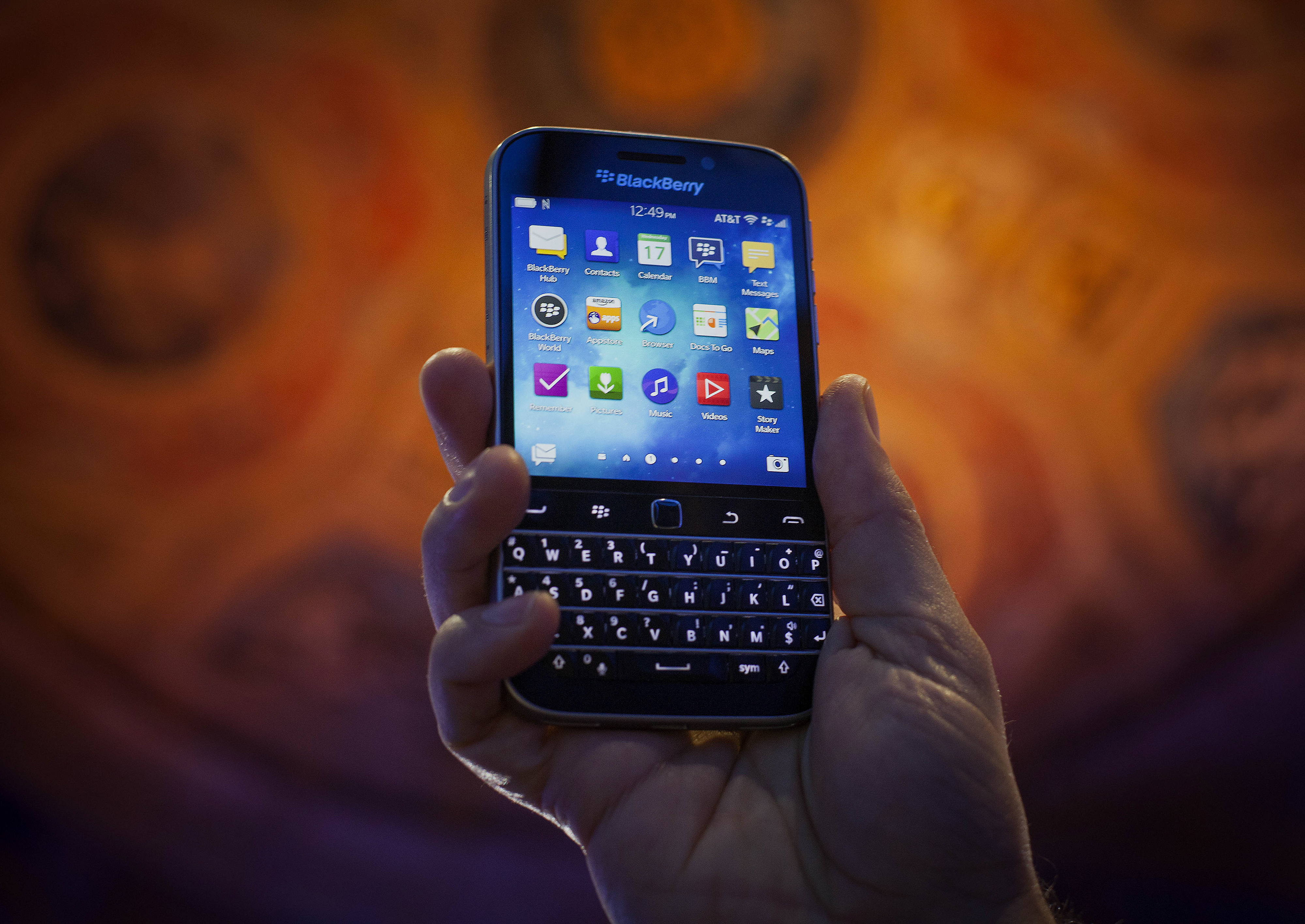 The BlackBerry Ltd. Classic smartphone is displayed for a photograph during an event in New York, U.S., on Wednesday, Dec. 17, 2014.