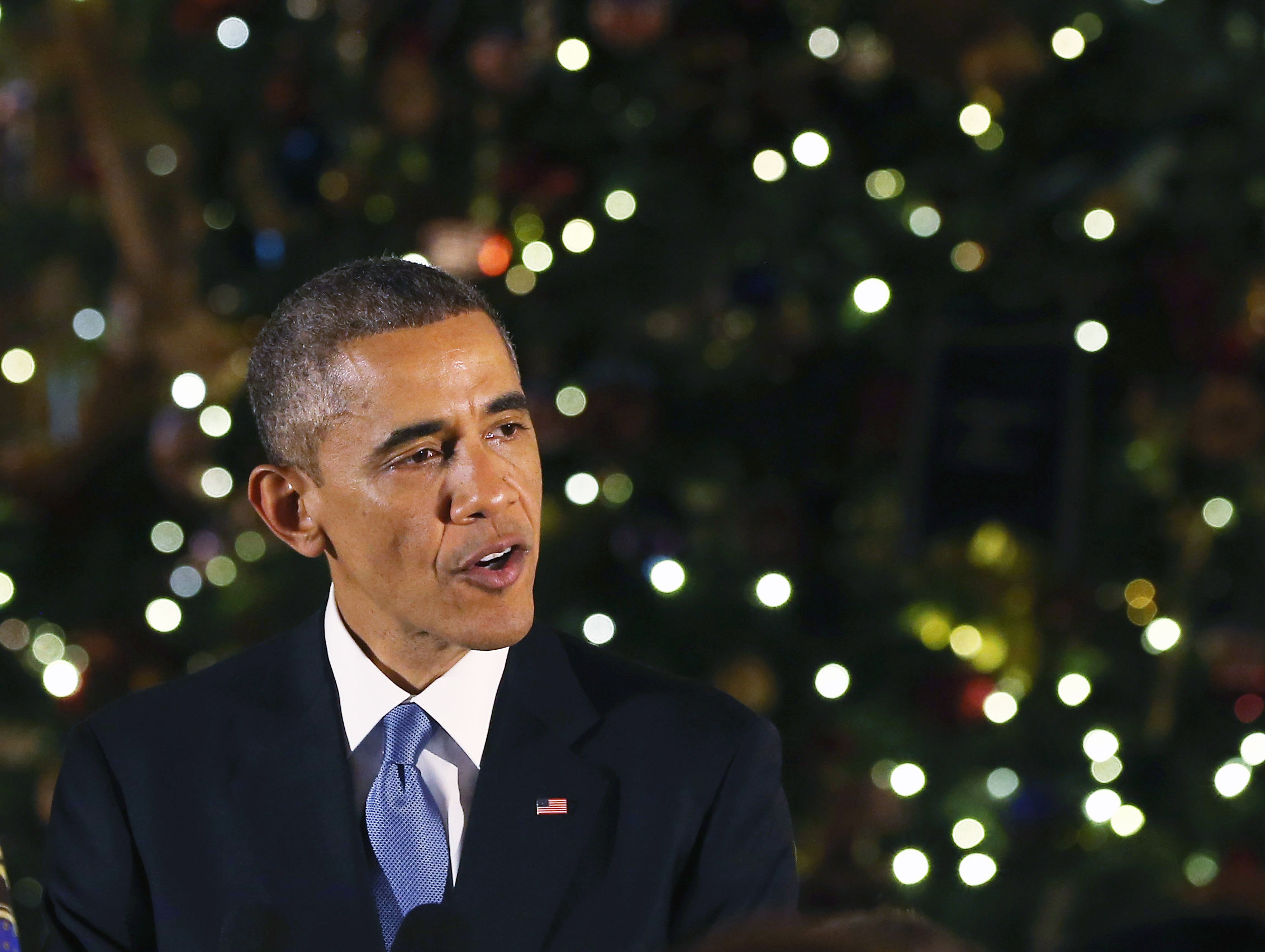 U.S. President Barack Obama speaks during the White House Hanukkak Party, December 17, 2014 in Washington, DC.