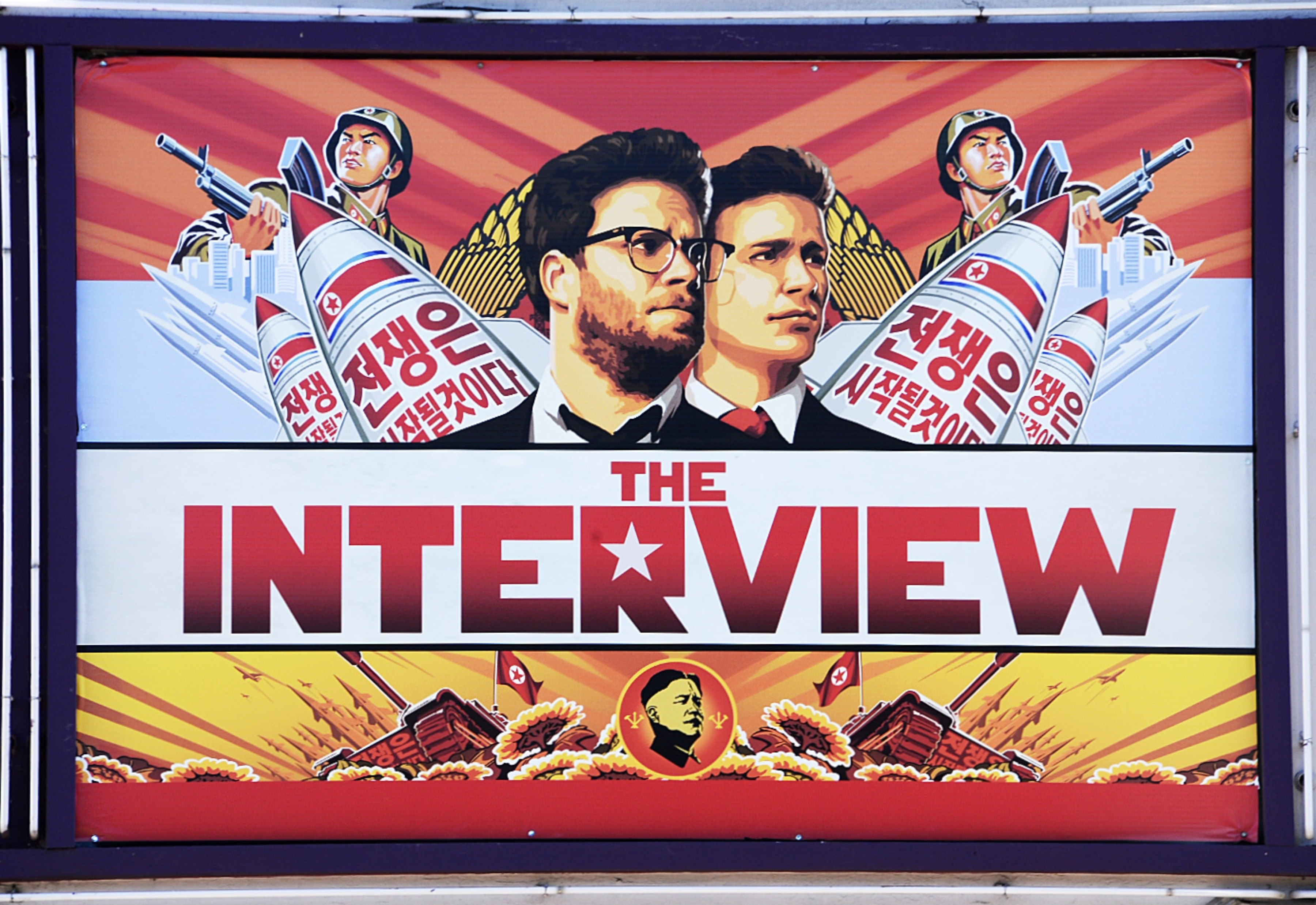 A poster for  The Interview   is displayed on the marquee of the Los Feliz 3 cinema December 25, 2014 in Los Angeles, California.
