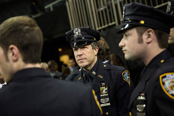 Patrick Lynch, president of the Patrolmen's Benevolent Association, attends a NYPD graduation ceremony at Madison Square Garden in New York City on Dec. 29, 2014