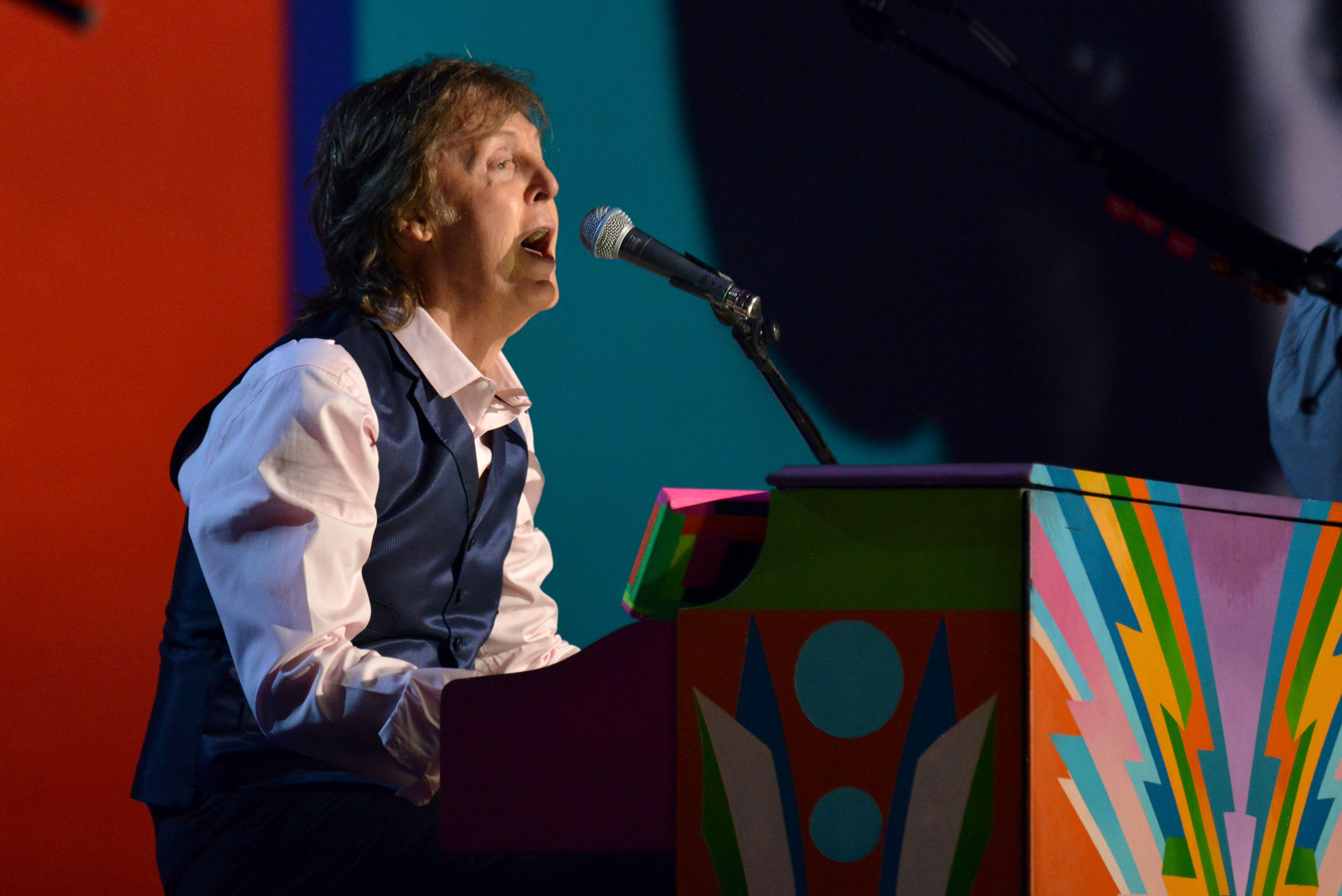 Paul McCartney performs onstage during  The Night That Changed America: A GRAMMY Salute To The Beatles  on Jan. 27, 2014 in Los Angeles.