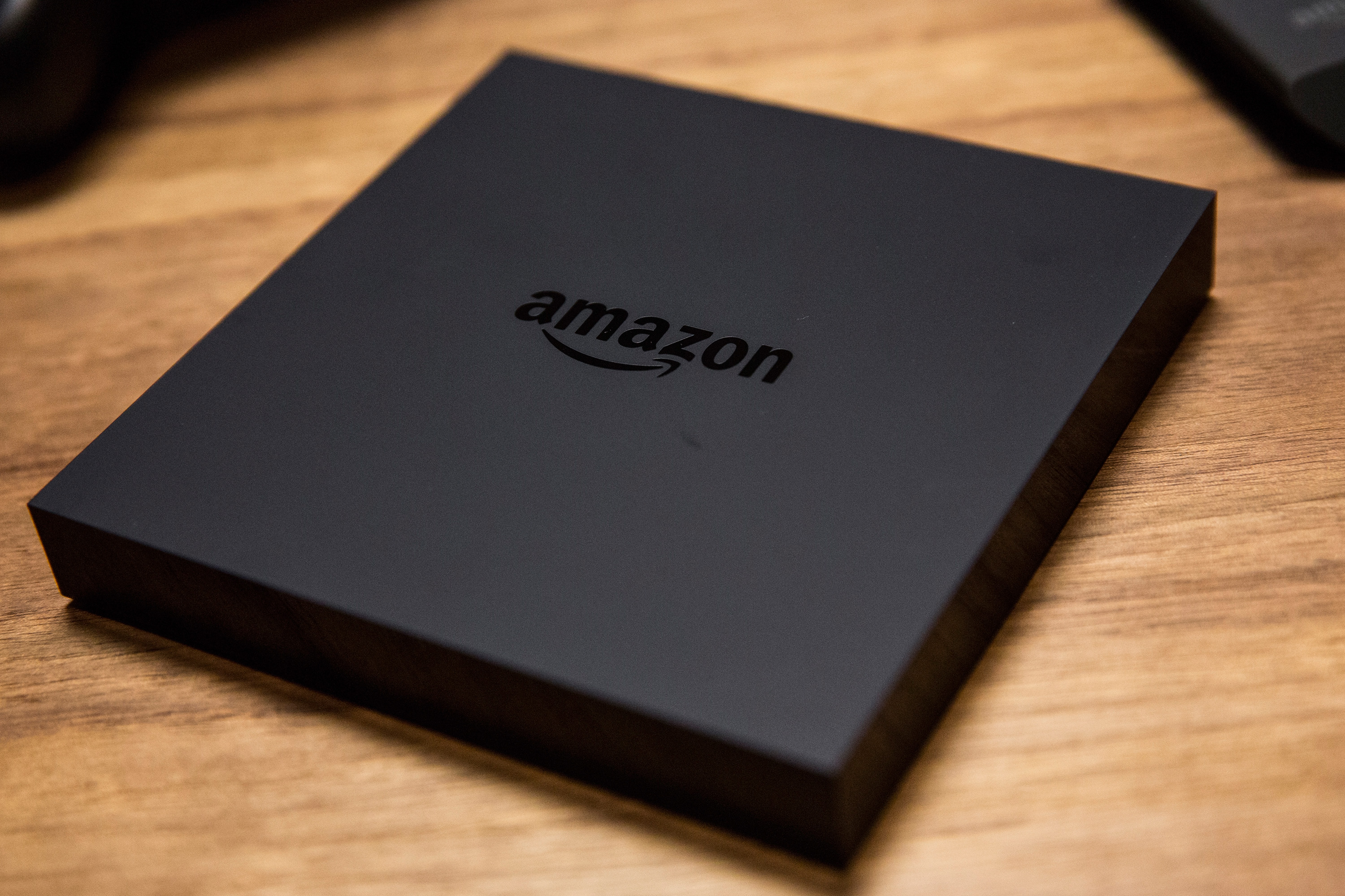 The Amazon Fire TV - a new device that allows users to stream video, music, photos, games and more through a television - is displayed at a media event on April 2, 2014 in New York City.