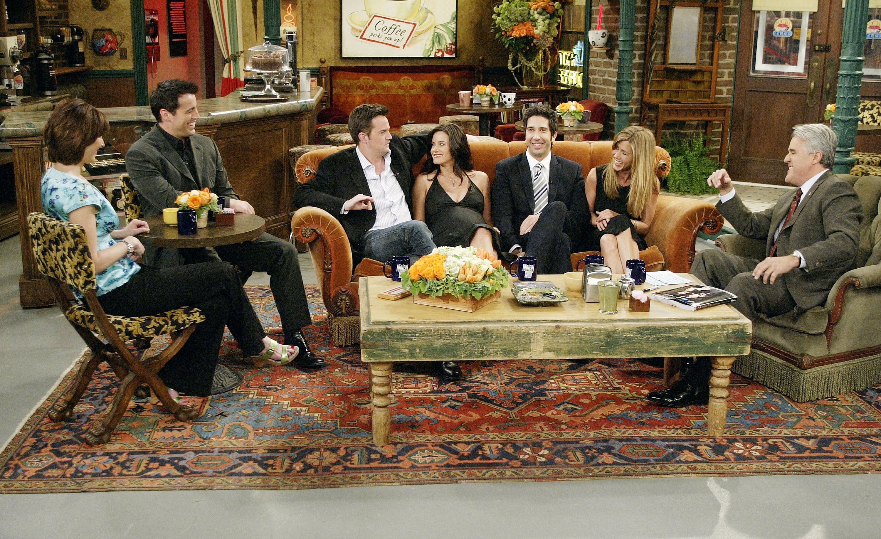 In this handout photo provided by NBC, the cast of  Friends , actors Lisa Kudrow, Matt LeBlanc, Matthew Perry, Courteney Cox-Arquette, David Schwimmer and Jennifer Aniston sat down with Jay Leno for a special  Tonight Show,  on the set of Central Perk