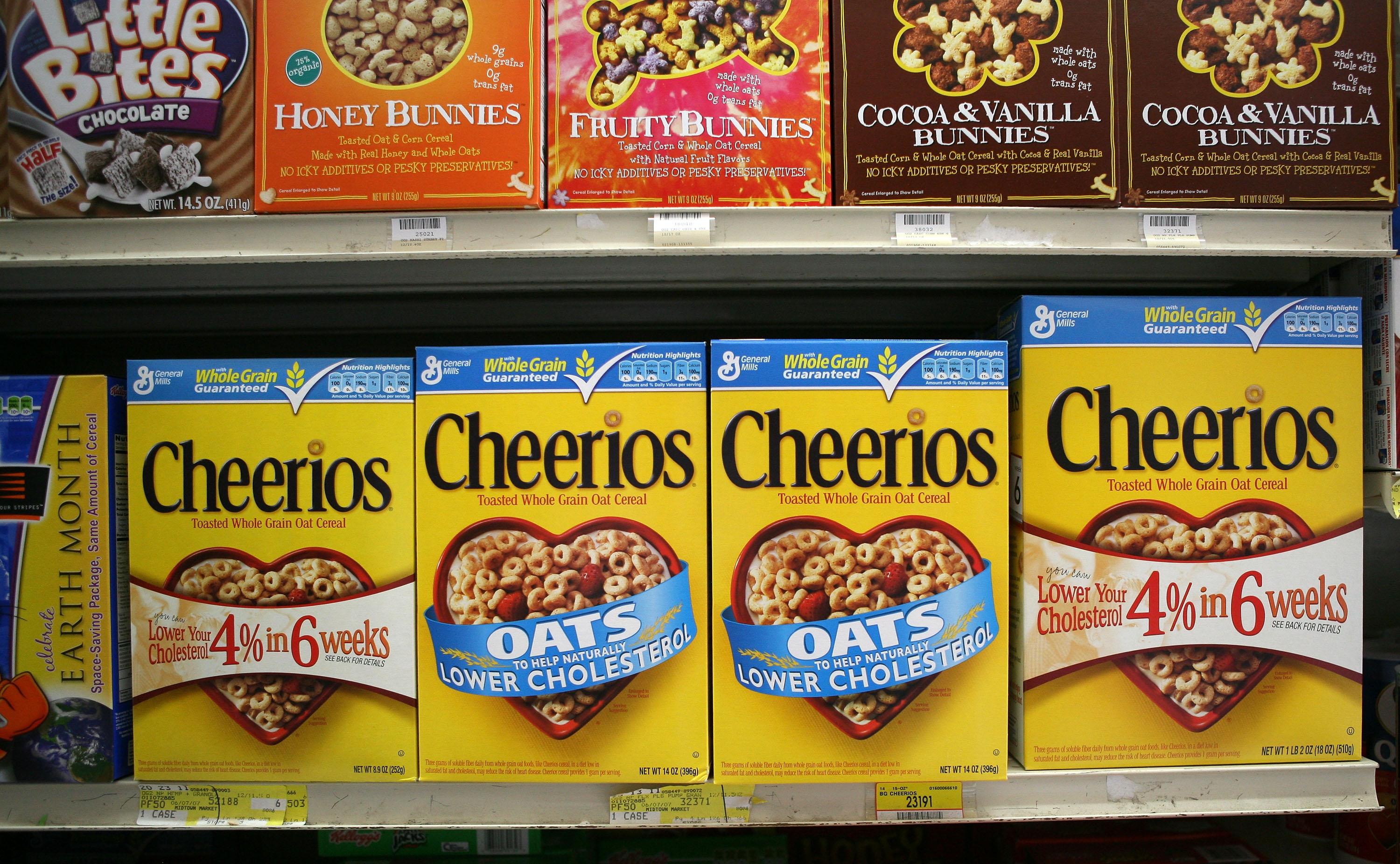 Boxes of Cheerios cereal are displayed on a shelf at the Midtown Market May 12, 2009 in Brisbane, California.