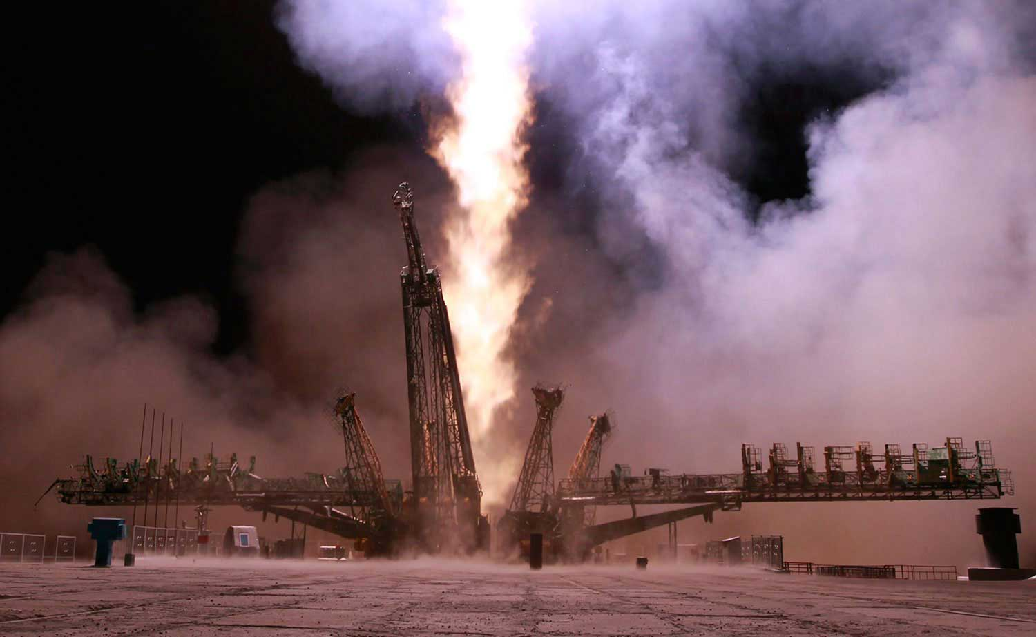 The Soyuz TMA-10M blasts off from the Baikonur cosmodrome in Kazakhstan, on Sept. 26, 2013, carrying Russian cosmonauts Sergey Ryazanskiy and Oleg Kotov and NASA astronaut Mike Hopkins to the International Space Station (ISS).