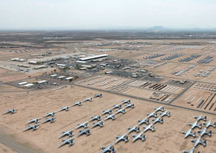 The U.S. Air Force's  boneyard  of surplus warplanes at Davis-Monthan Air Force Base, Arizona.