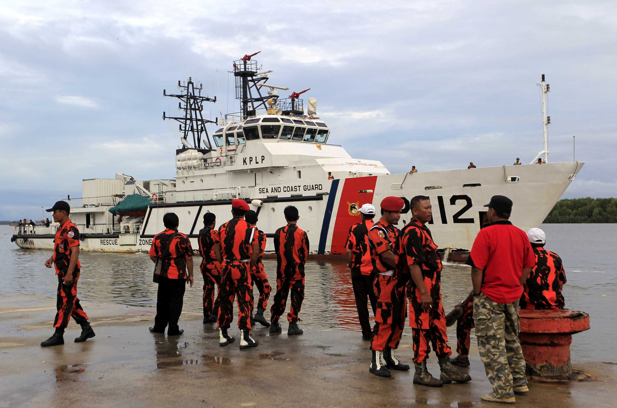 Indonesia's Sea and Coast Guard ship  during a search and rescue operation as they search for the missing AirAsia plane on Dec. 31.