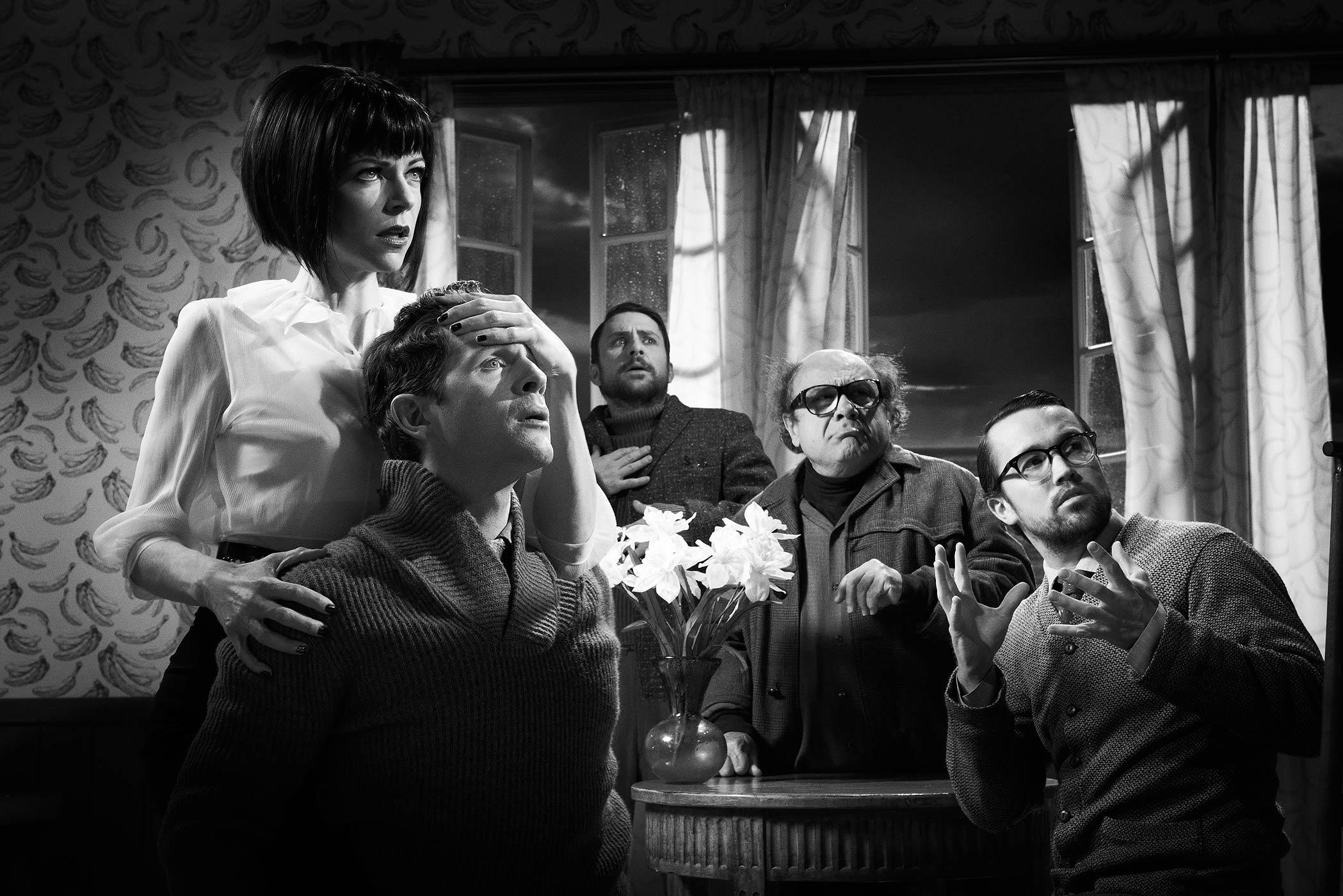 From left: Kaitlin Olson as Dee Reynolds, Glenn Howerton as Dennis Reynolds, Charlie Day as Charlie Kelly, Danny DeVito as Frank Reynolds and Rob McElhenney as Mac in It's Always Sunny In Philadelphia