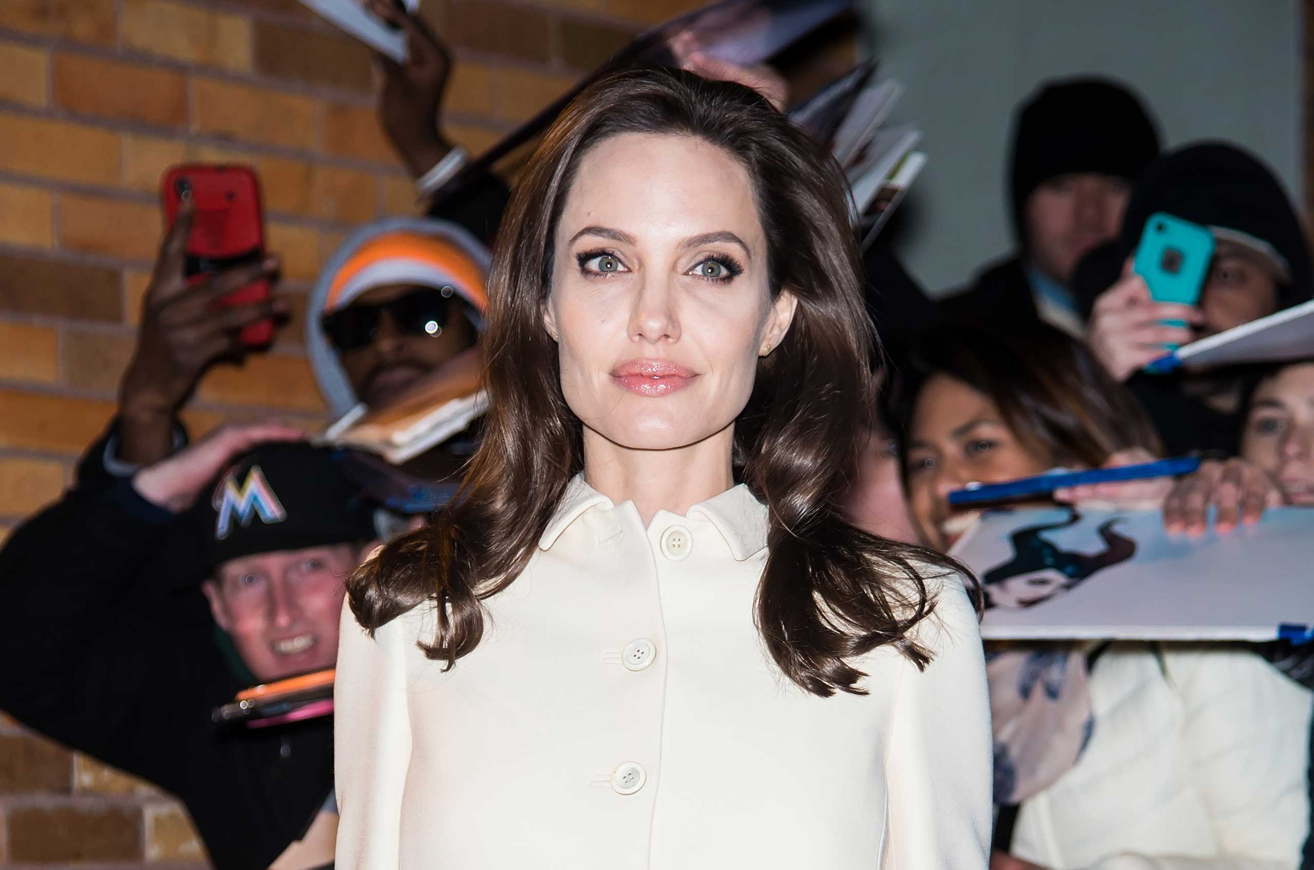 Actress Angelina Jolie is seen leaving The Daily Show with Jon Stewart on Dec. 4, 2014 in New York City.