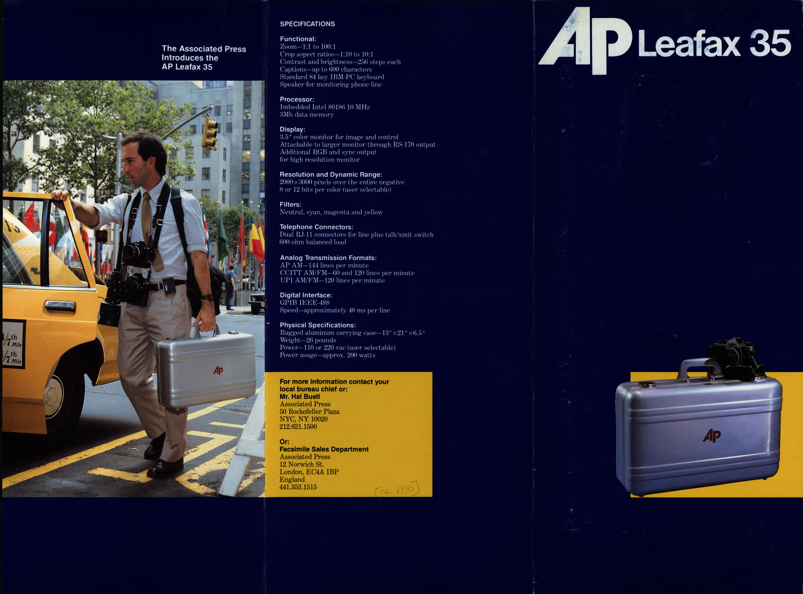 Promotional brochure announcing the AP Leafax 35, a picture transmitter that requires only a negative to transmit photographic images, from 1988.