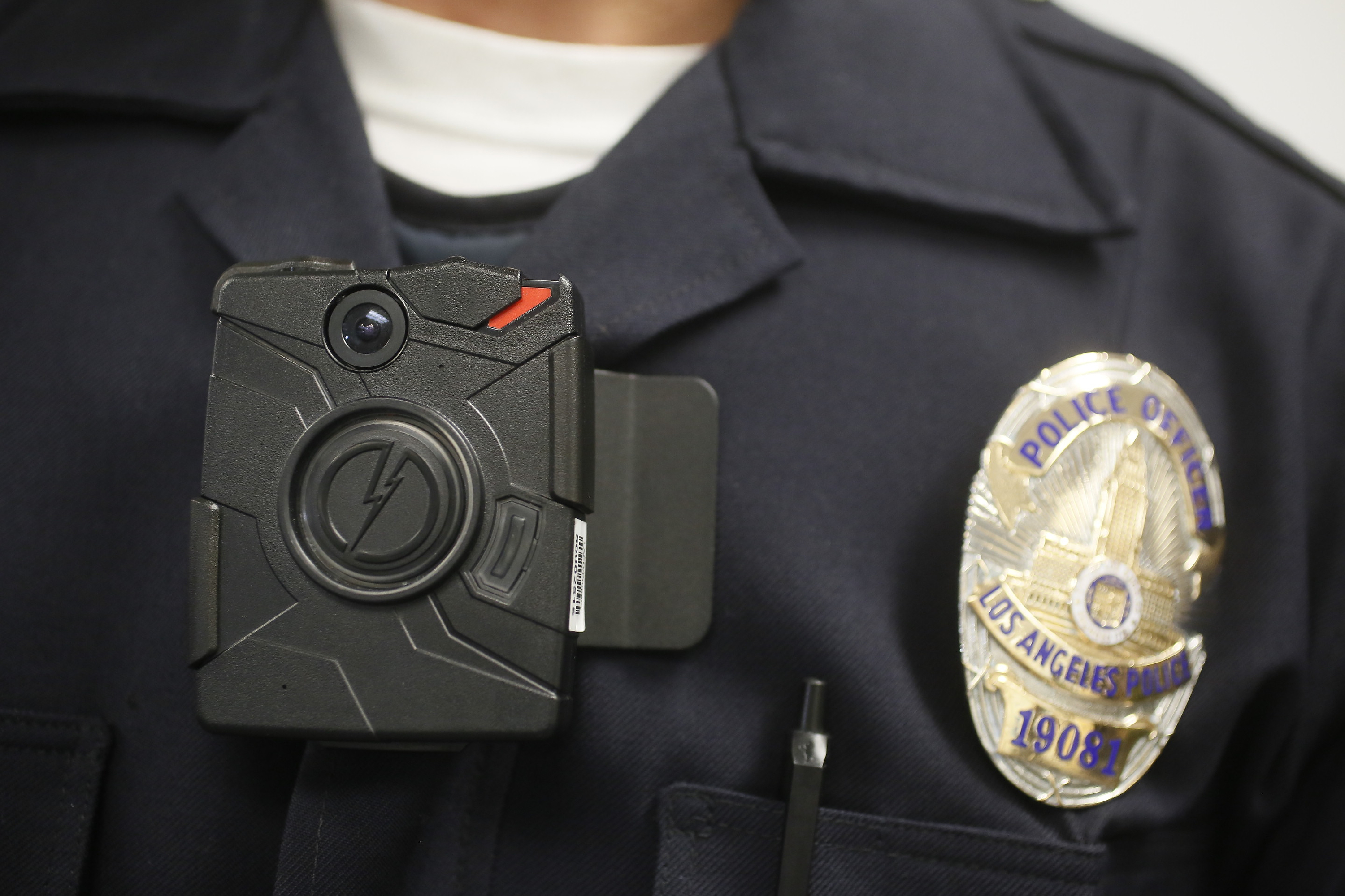 A Los Angeles Police officer wears an on-body camera Jan. 15, 2014. Los Angeles Mayor Eric Garcetti plans to equip every LAPD officer with a camera.