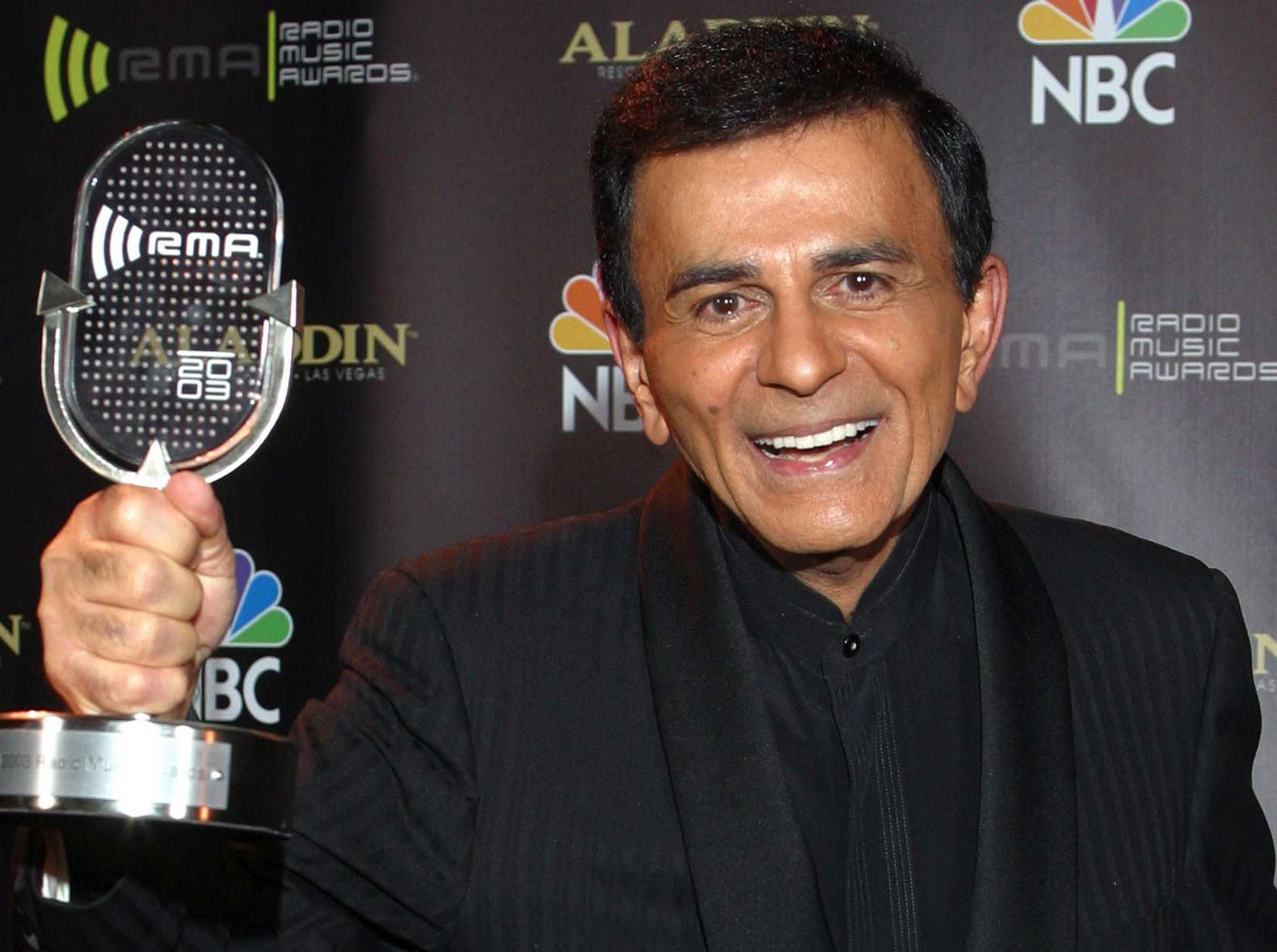 In this Oct. 27, 2003, file photo, Casey Kasem poses for photographers after receiving the Radio Icon award during the 2003 Radio Music Awards in Las Vegas