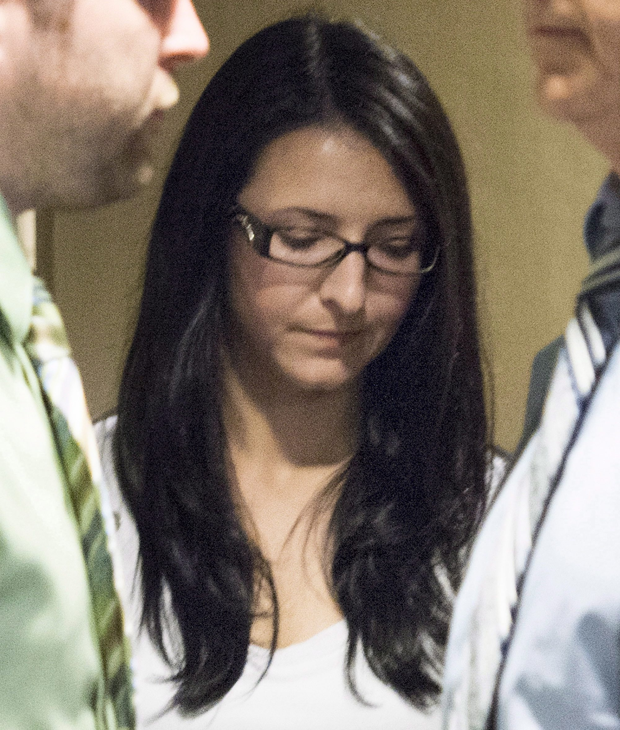 Emma Czornobaj, shown here in this June 3, 2014, file photo at the Montreal Courthouse in Canada, was found guilty in the deaths of two motorcyclists who collided with her car after she stopped for ducks on a Montreal-area highway. On Thursday, a judge sentenced her to 90 days in jail.