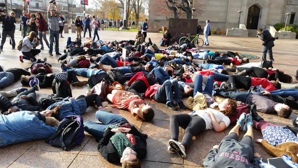 Charles Migos shared this image from Boston University #Ferguson #HandsUpWalkout #BU http://t.co/mJPlQsOAj1