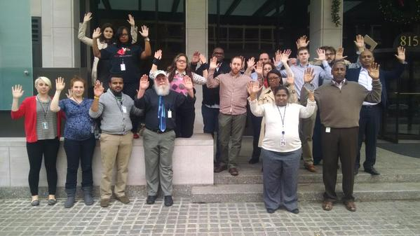 Jess Livoti-Morales shared this image from Washington, DC, saying,  #BlackLivesMatter and our struggle is #OneStruggle. #HandsUpWalkout  http://t.co/yB2Z8n8d9n