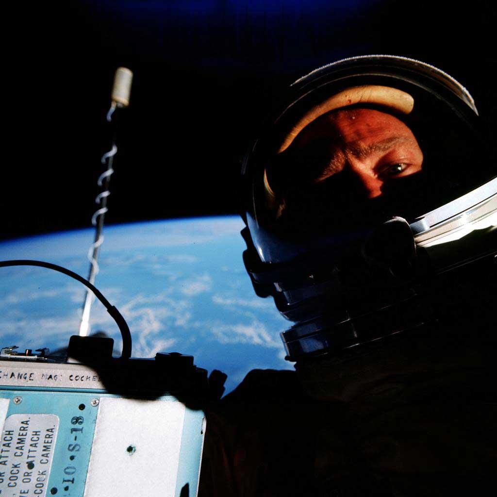 Gemini 12 astronaut Buzz Aldrin takes  a selfie during a spacewalk in Nov. 1966.