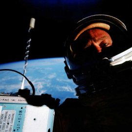 Gemini 12 astronaut Buzz Aldrin snaps a picture of himself during a spacewalk in November 1966. Credit: NASA