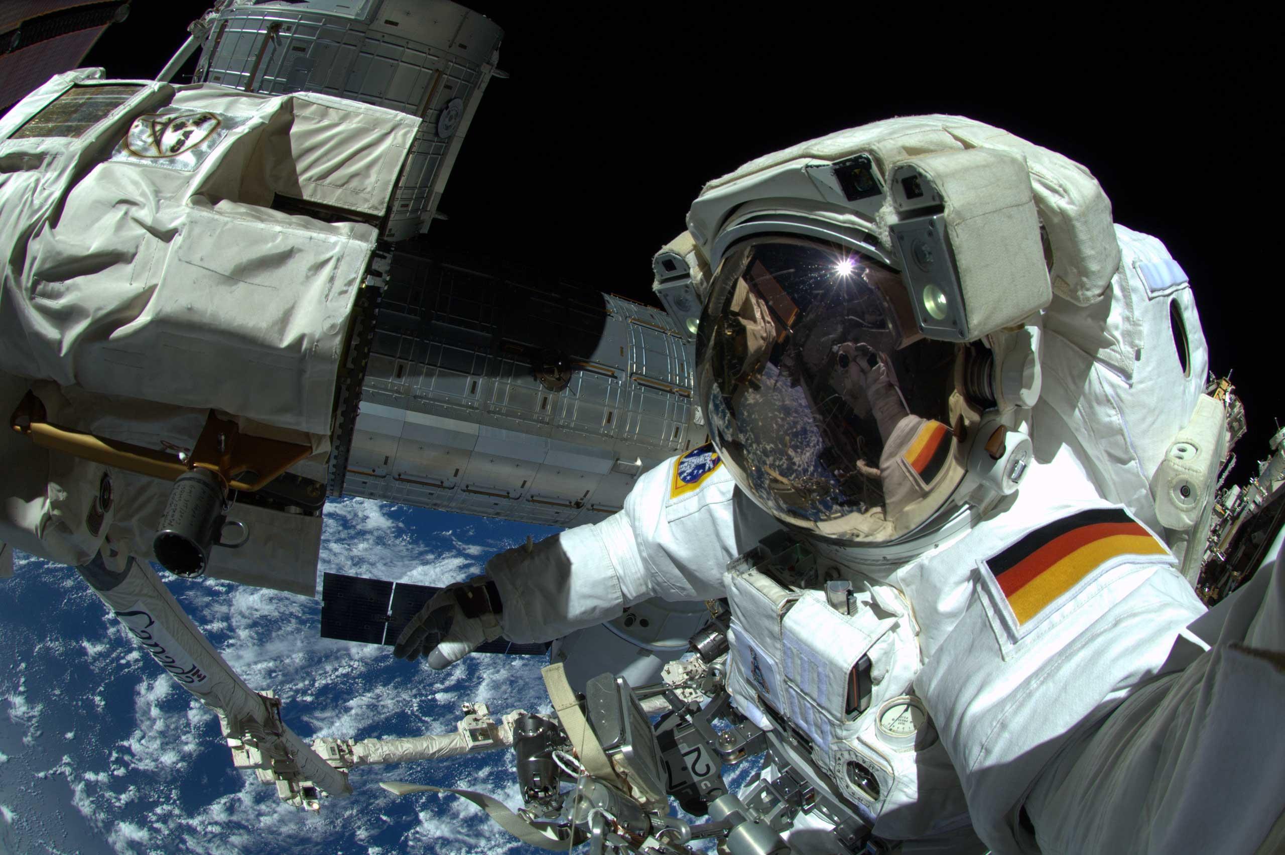 ESA Astronaut Alexander Gerst takes a selfie during a spacewalk on Oct. 7, 2014.