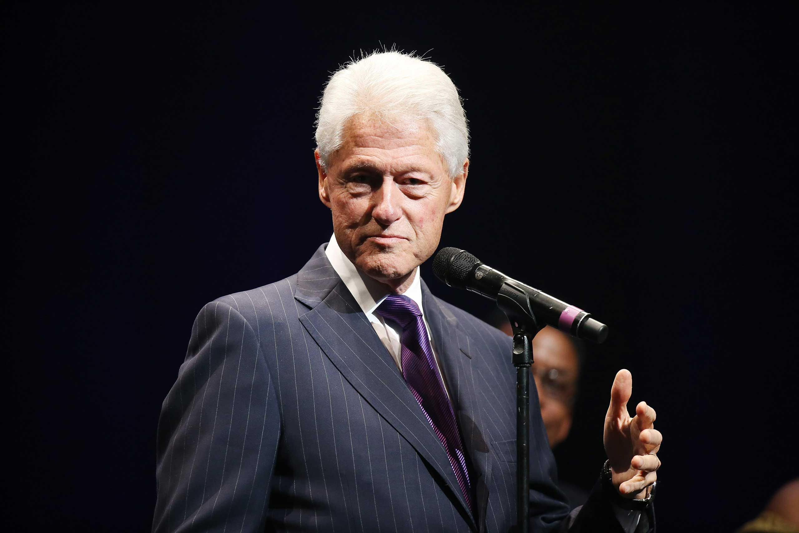 Bill Clinton speaks onstage during The Thelonius Monk Jazz Trumpet Competition and All Star Gala concert held at Dolby Theatre in Hollywood, Calif. on Nov. 9, 2014.