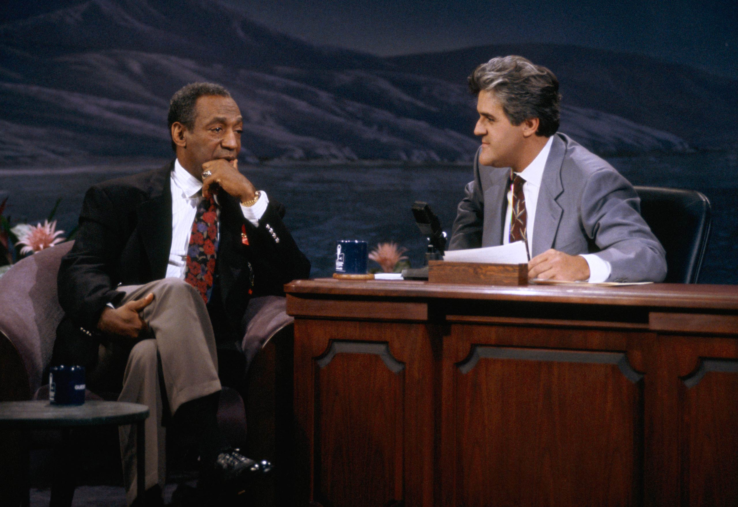Bill Cosby is interviewed by Jay Leno on <i>The Tonight Show With Jay Leno</i> in 1992.