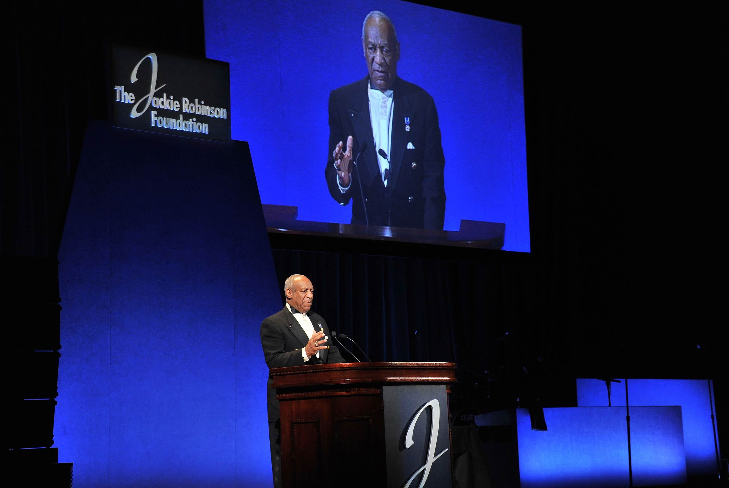 Host Bill Cosby speaks onstage at the 2011 Jackie Robinson Foundation awards gala atThe Waldorf Astoria in 2011 in New York City.