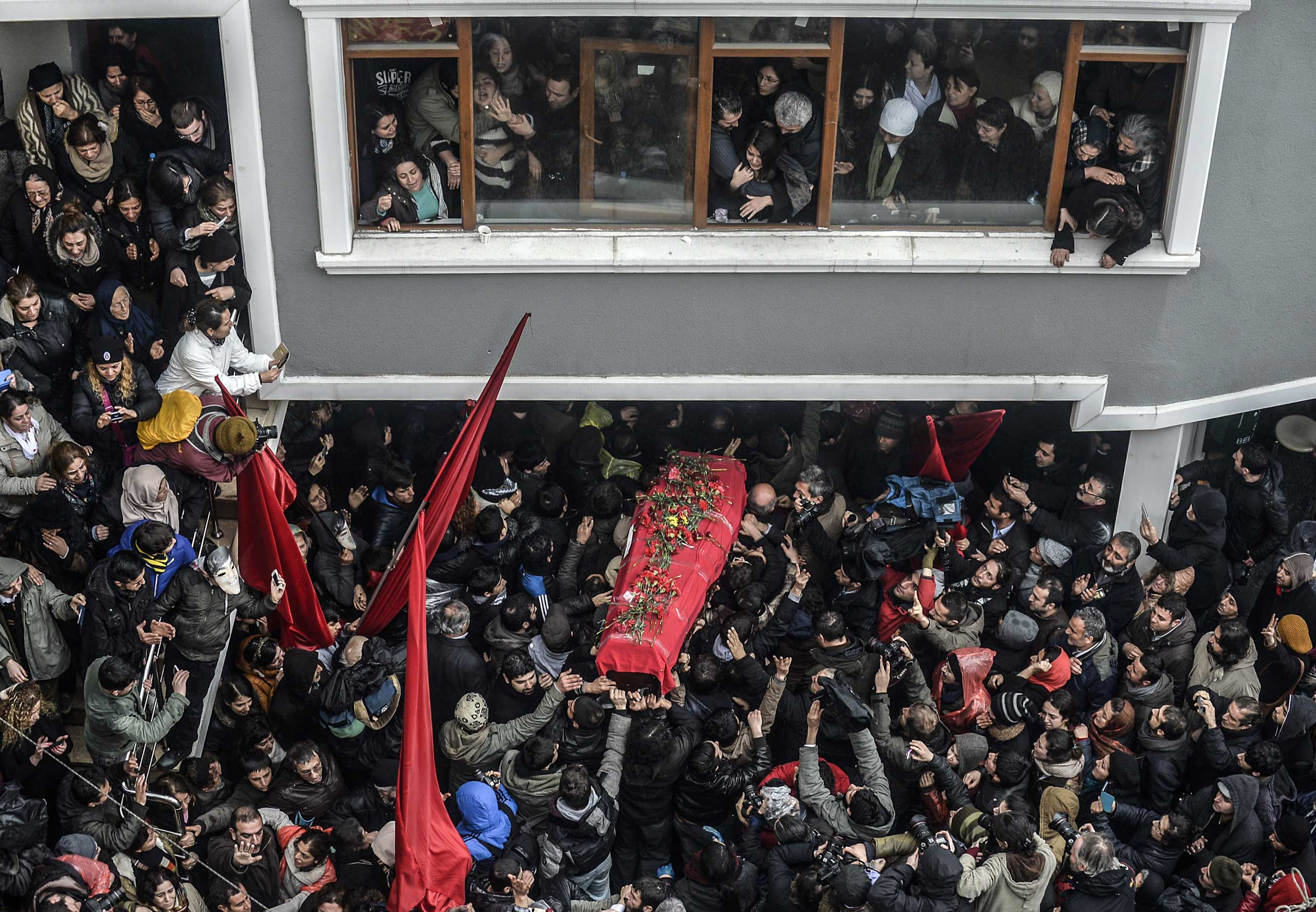 The coffin of Berkin Elvan is carried  on March 11, 2014, in Istanbul, Turkey. Berkin Elvan, who had been in a coma since June 2013 after being struck in the head by a gas canister during a police crackdown on protesters, died on March 11.