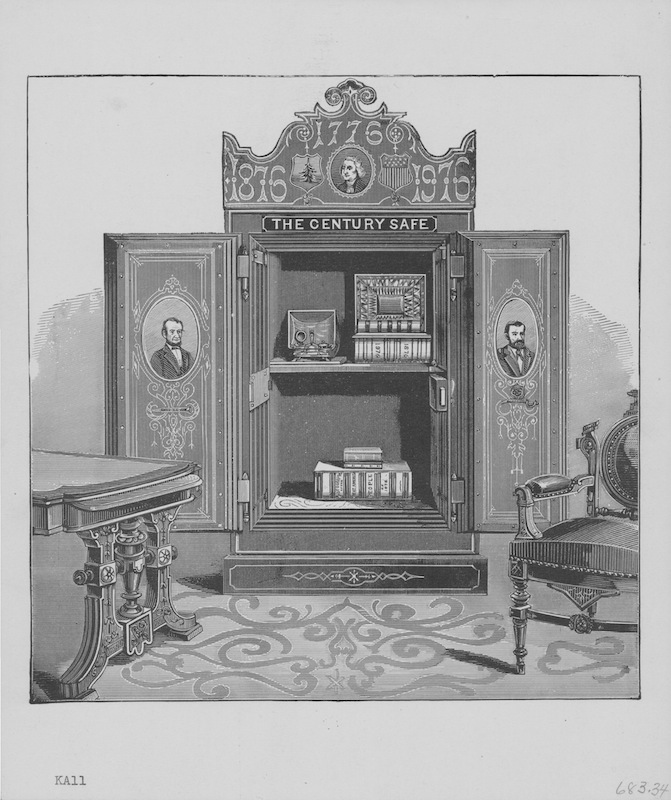The Century Safe assembled and buried in Philadelphia on the occasion of the American centennial, to be opened in 100 years time, 1876