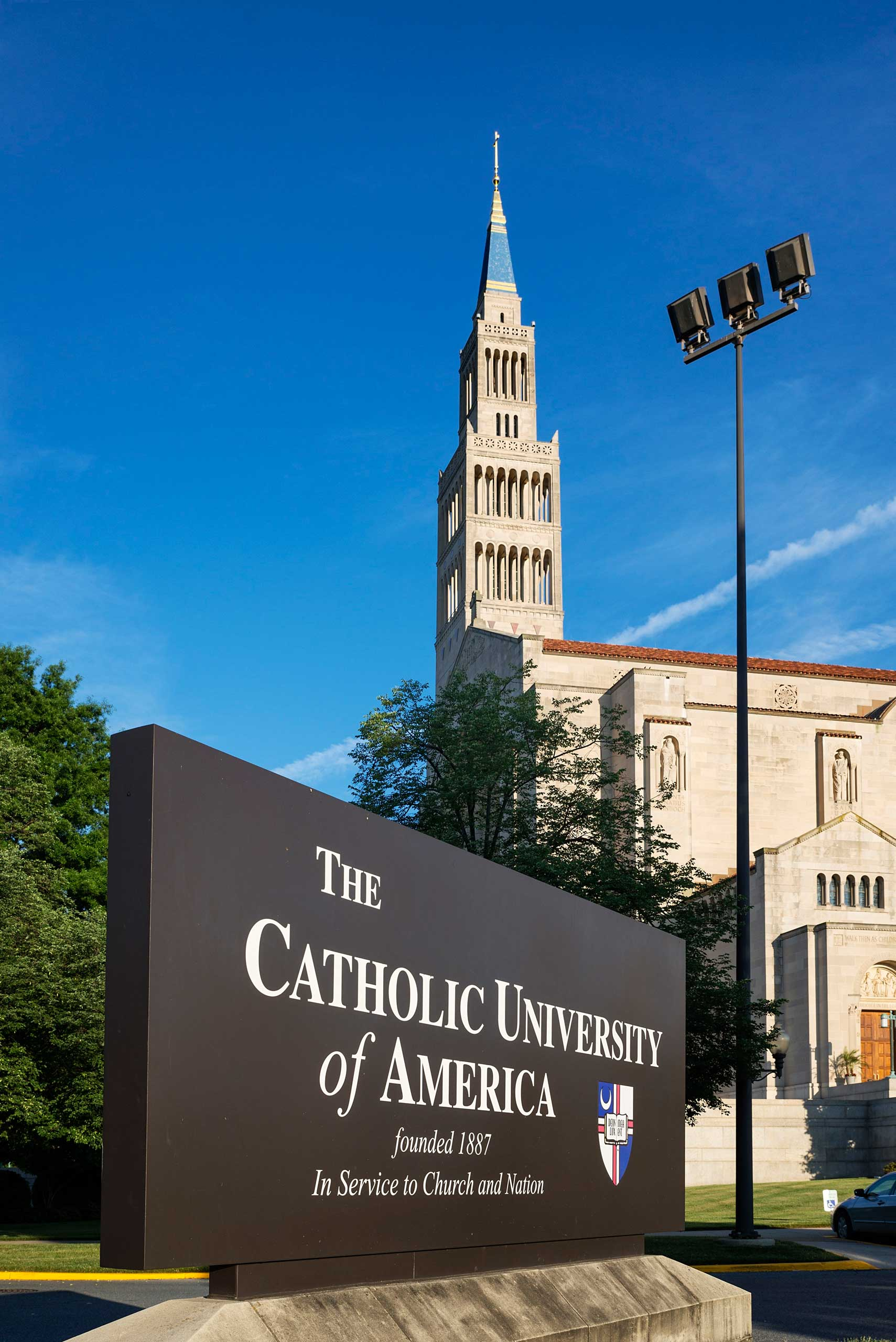 The Catholic University of America campus with National Shrine Basilica in Washington, DC.