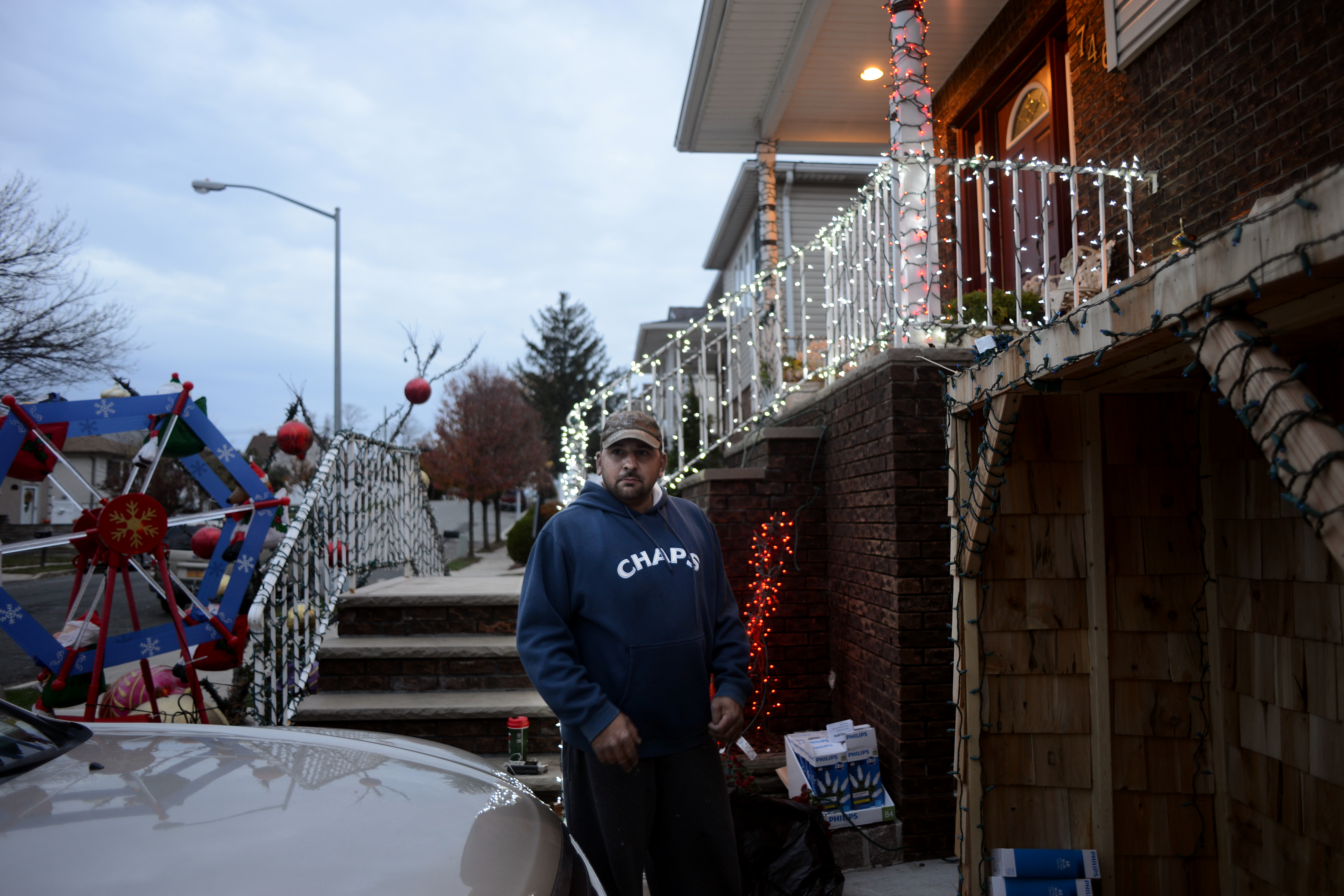 In mid-November, Sammy is already at work on his Christmas displays, some of which are lit as soon as he gets them up.