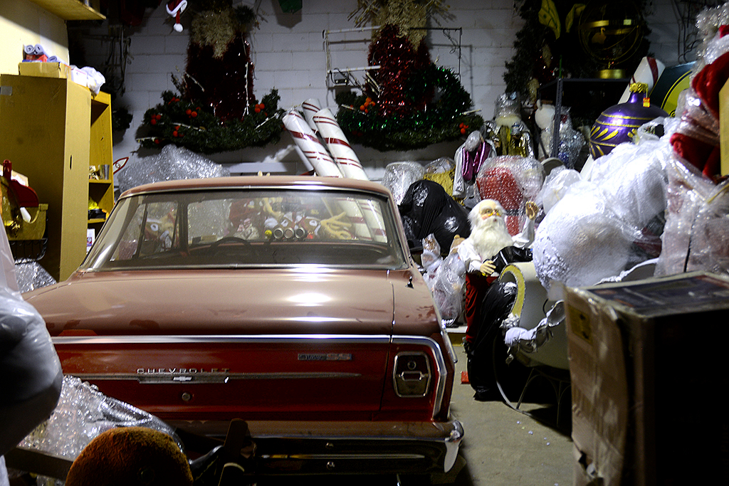 Sammy's space is large enough for old cars and thousands of Christmas decorations, mostly dolls and animatronic puppets.